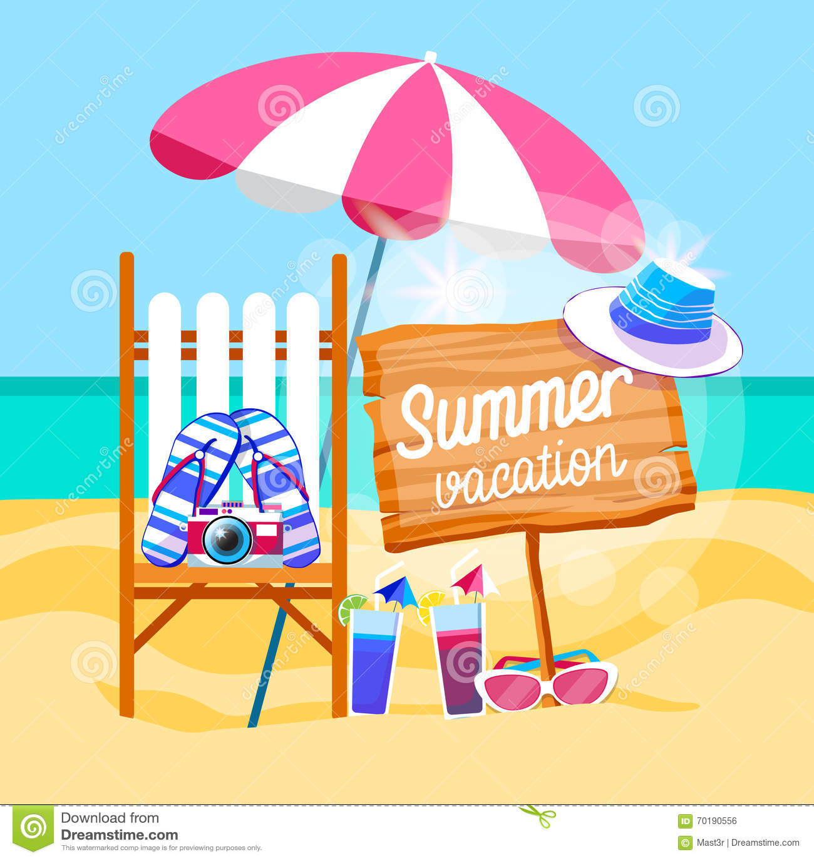 Uppsättning Sunbed för sommarstrandsemester med det tropiska banret för paraplysand