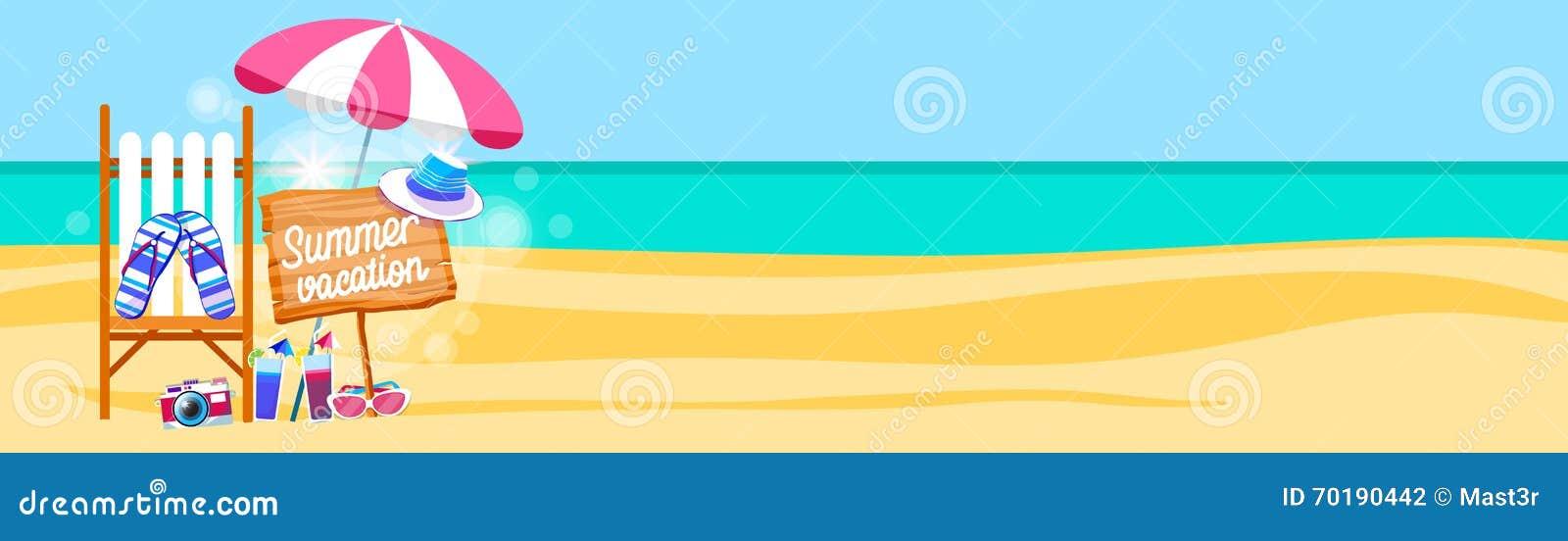 Uppsättning Sunbed för sommarstrandsemester med utrymme för kopia för baner för paraplysand tropiskt