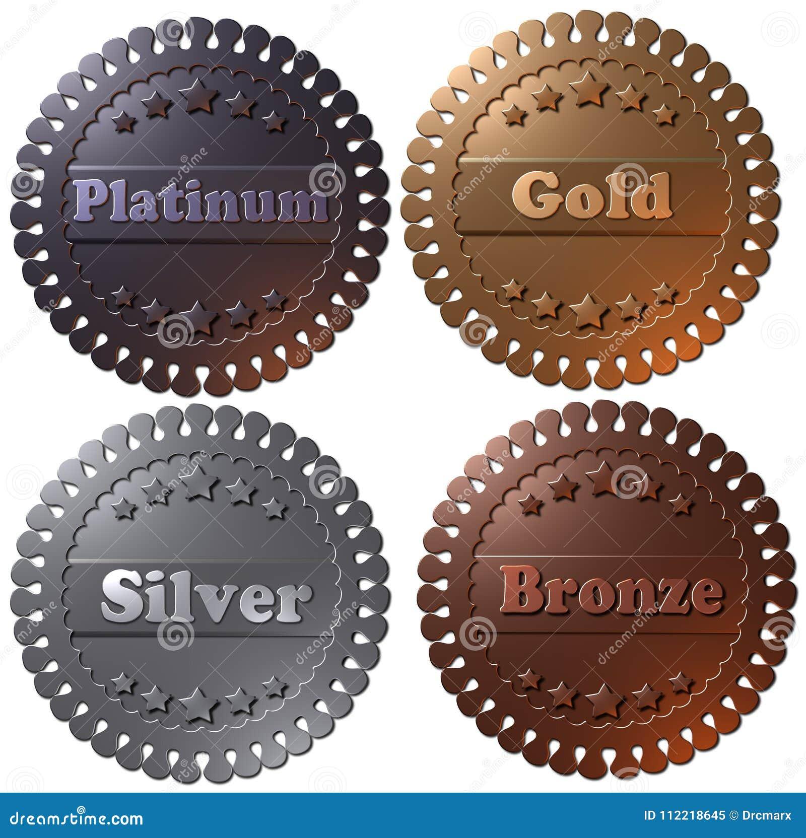Uppsättningen av 4 3D framförde medaljer, guld- silver för platina och brons