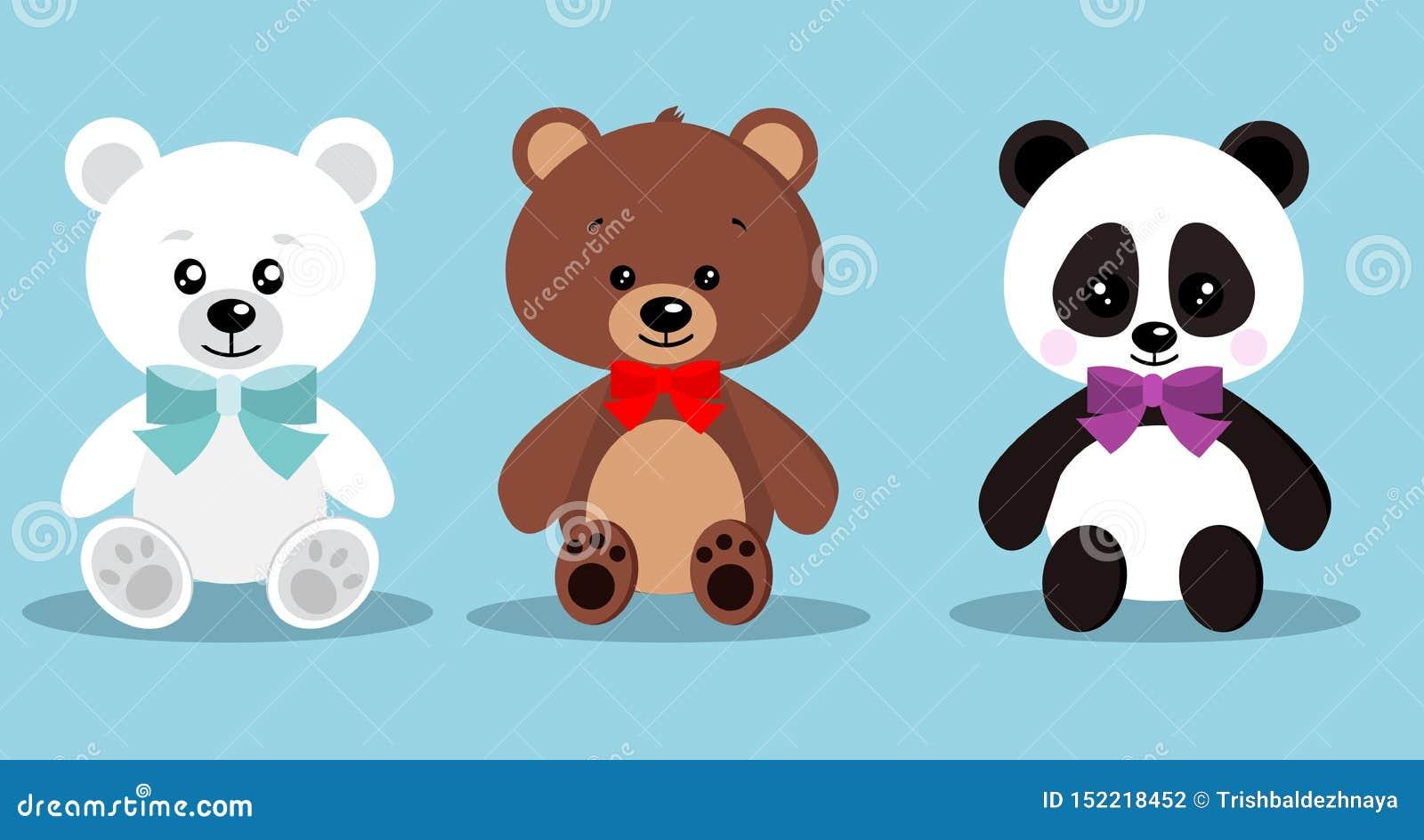 Uppsättningen av den isolerade gulliga eleganta ferienalleleksaken uthärdar med flugan, i att sitta posera: brunbjörn isbjörn, pa