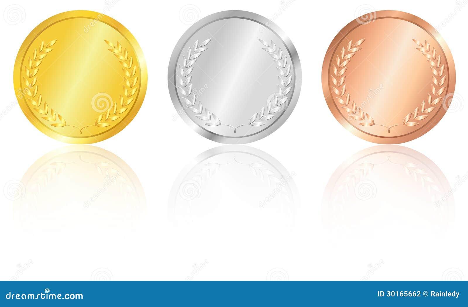 Försilvra och bronsmedaljer, guld-.