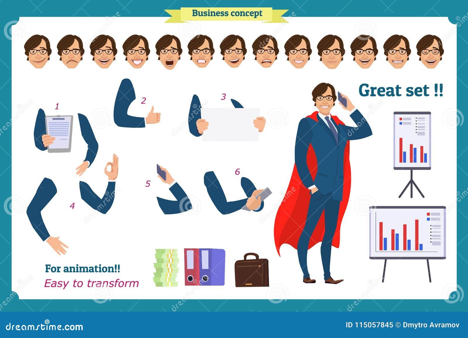 Uppsättningen av det toppna affärsmanteckenet poserar, gör en gest, handlingar, kroppbeståndsdelar