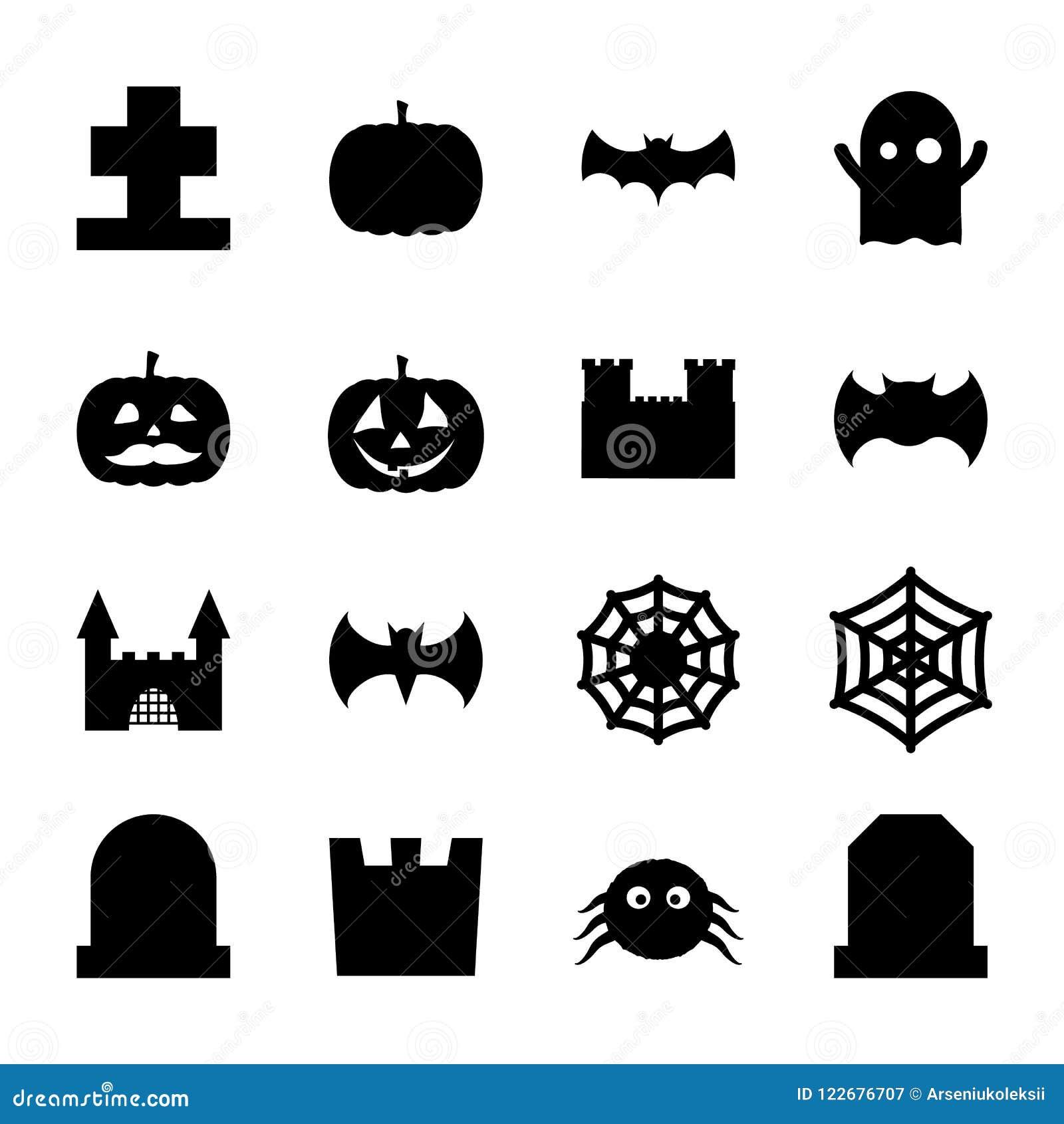 Uppsättningen av halloween gällde spöklika och gulliga garneringsymboler för design