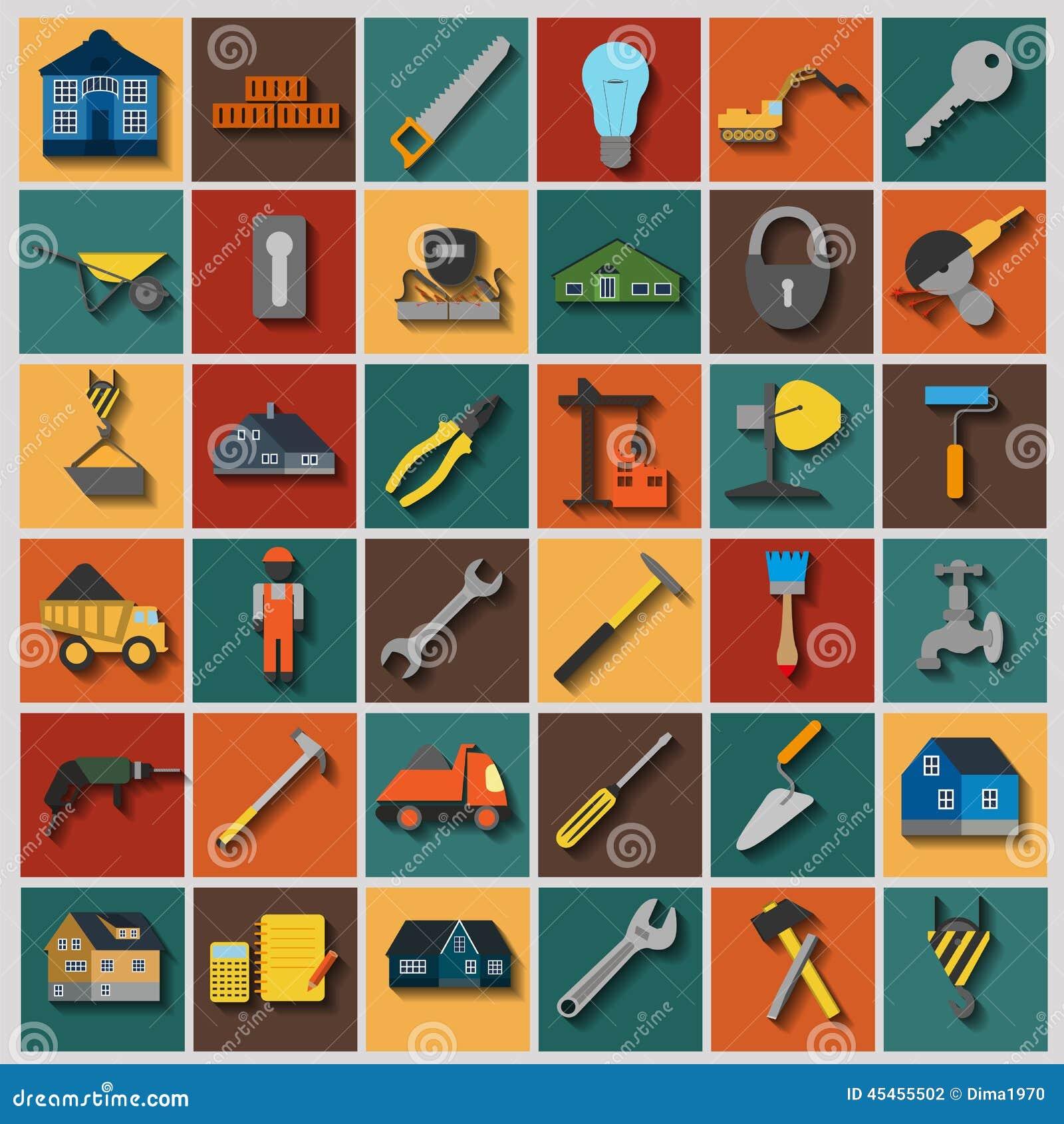Uppsättningen av husreparationen bearbetar symboler