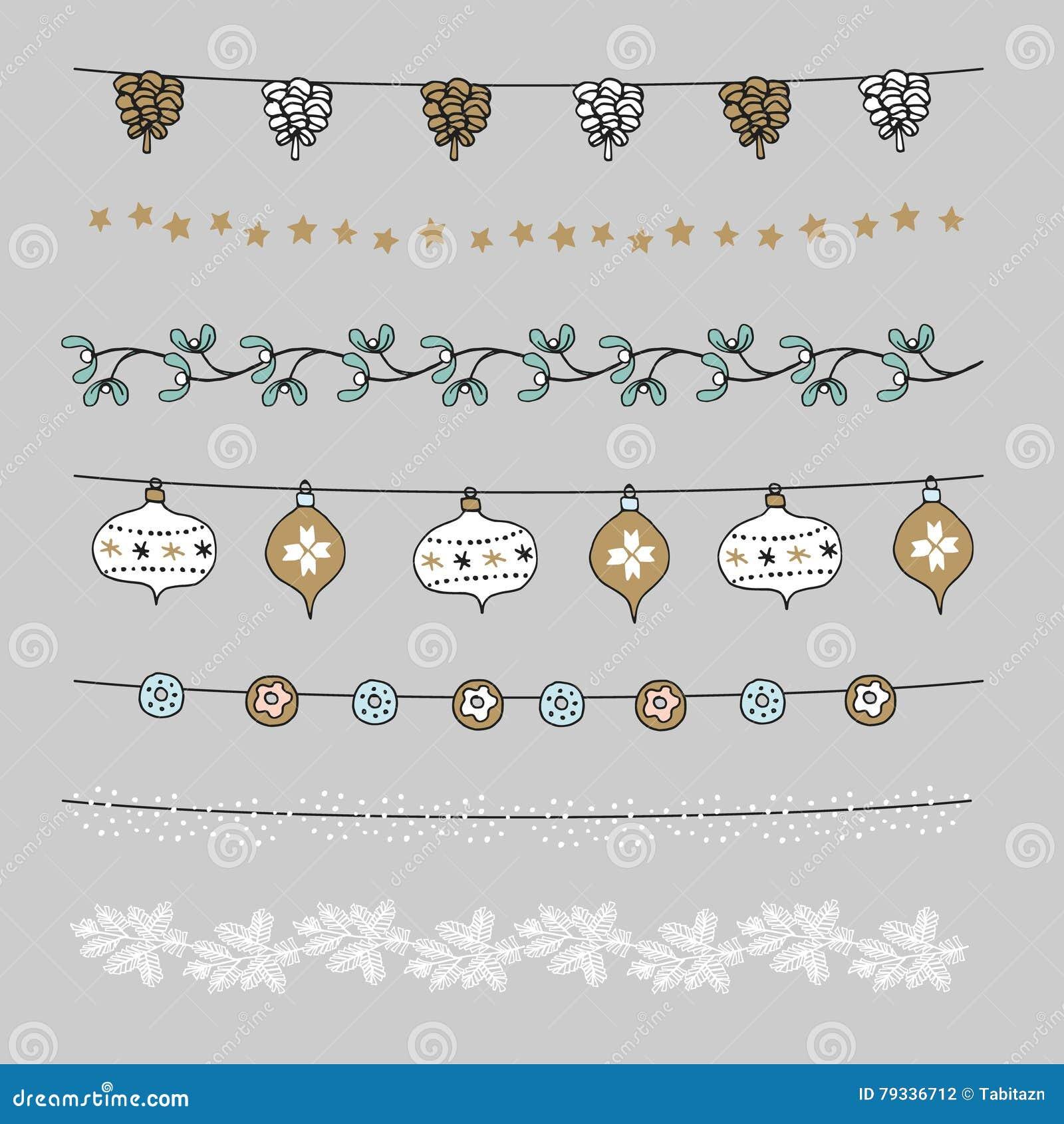 Uppsättningen av julgränser, rader, girlander, borstar Praty garnering med sörjer kottar, mistel, julbollar, struntsaker