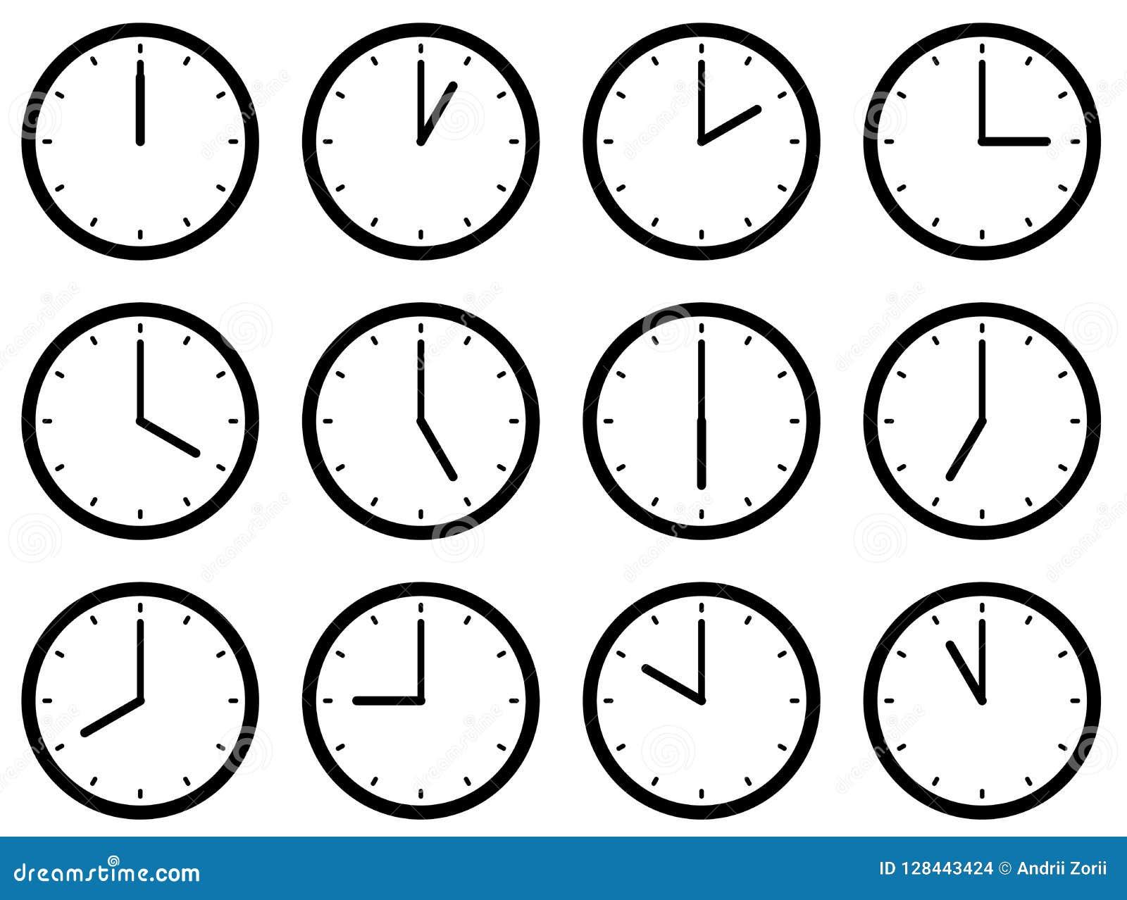 Uppsättningen av klockor, med tiderna ställde in på varje timme också vektor för coreldrawillustration