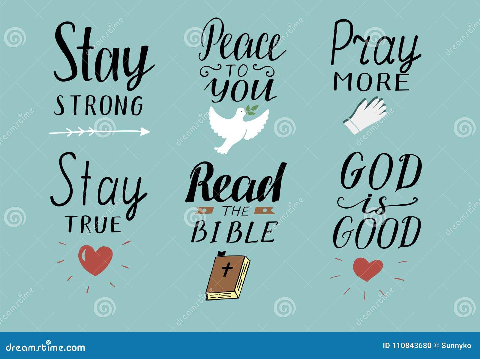 Uppsättningen av 6 kristna citationstecken för handbokstäver med symboler blir stark Fred till dig Be mer Läs bibeln Guden är bra