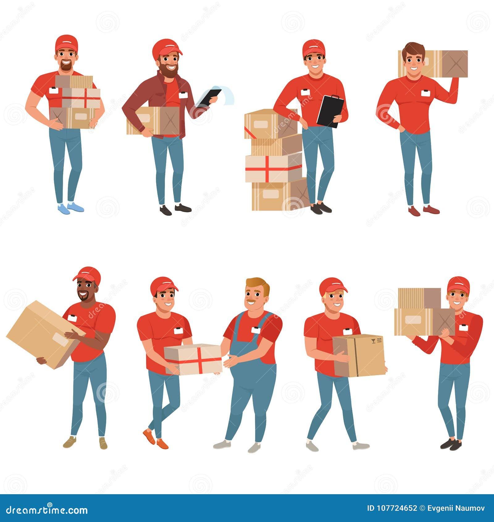 Uppsättningen av post- arbetare i olikt poserar Kurir eller hemsändning Mantecken med jordlottpackeaskar