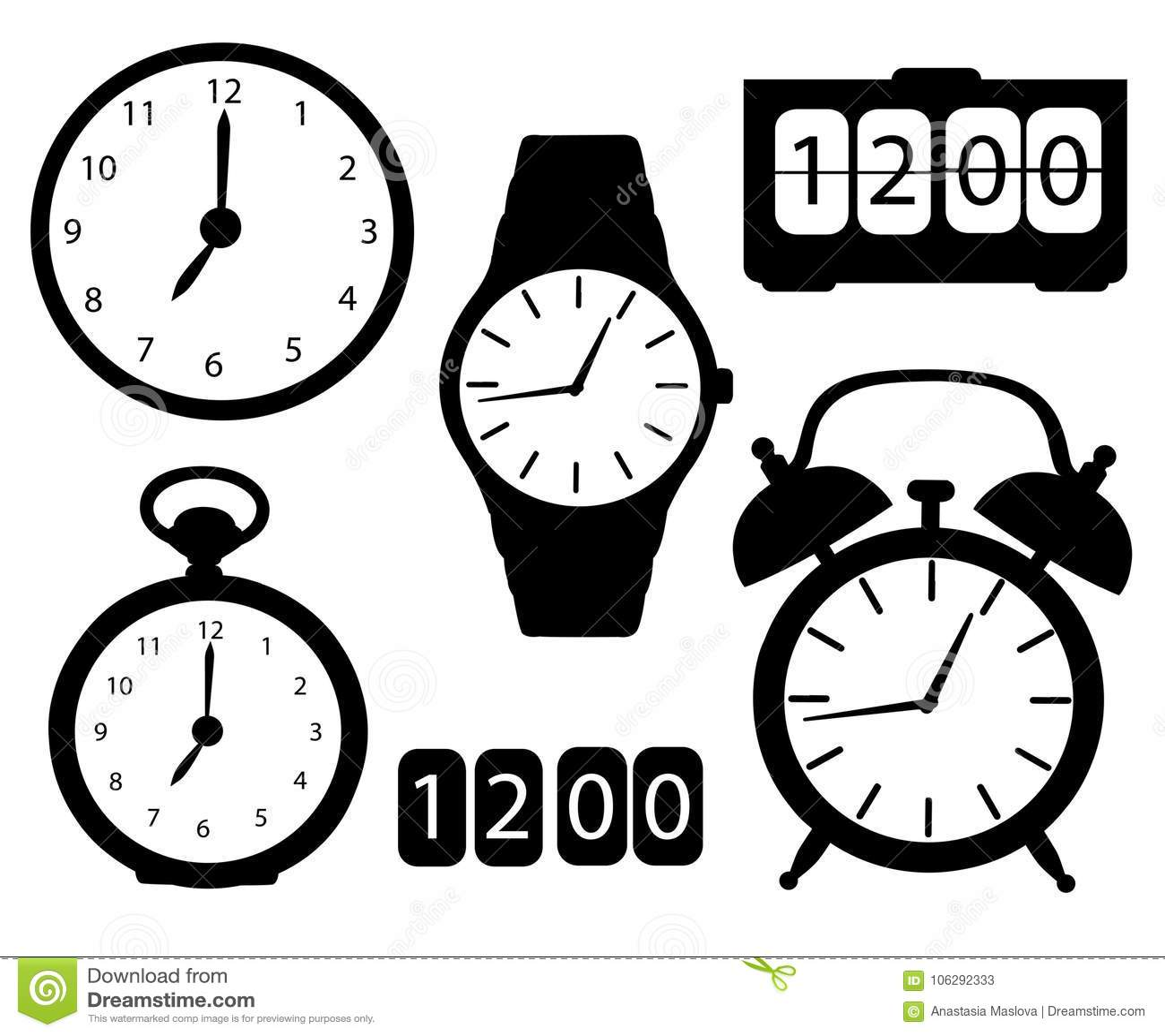 Uppsättningen av svarta symbolskonturklockor och klockor alarmerar digital elektronisk illustrati för vektor för tecknad film för