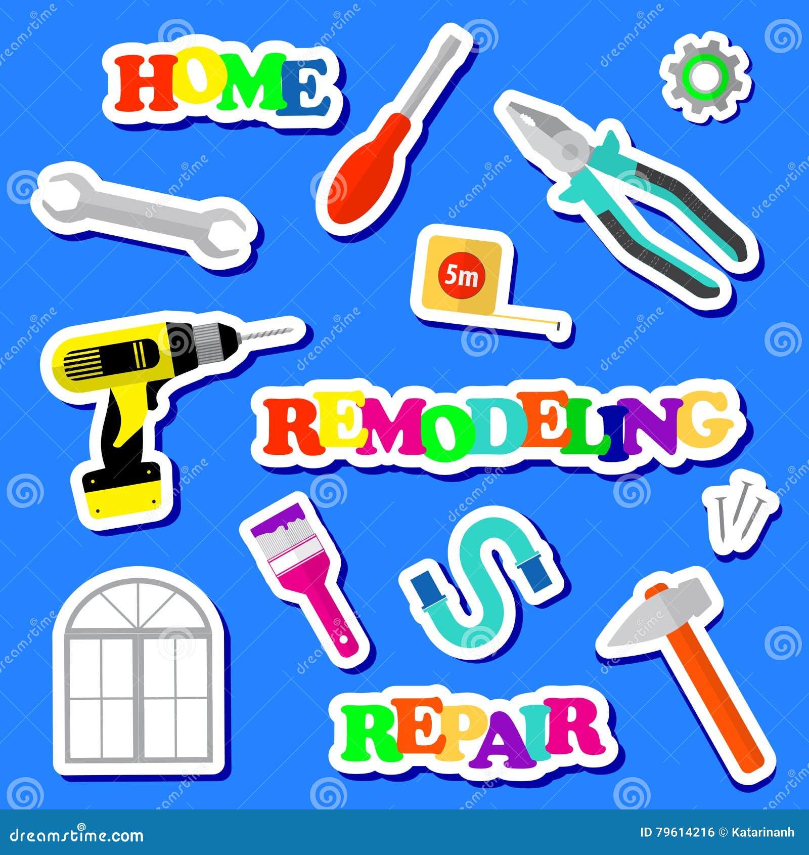 Uppsättningen av symboler omdanar hjälpmedel på en blå bakgrund Logo för husreparationsföretag Plana stilhjälpmedel för att bygga