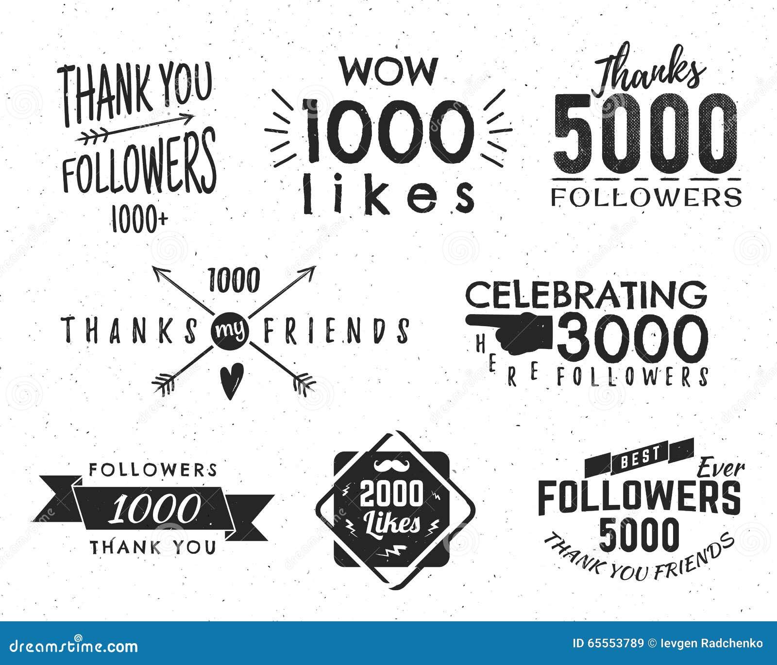 Uppsättningen av tappning tackar dig förser med märke Sociala massmediaanhängare märker och gillar klistermärkear Handskriftbokst
