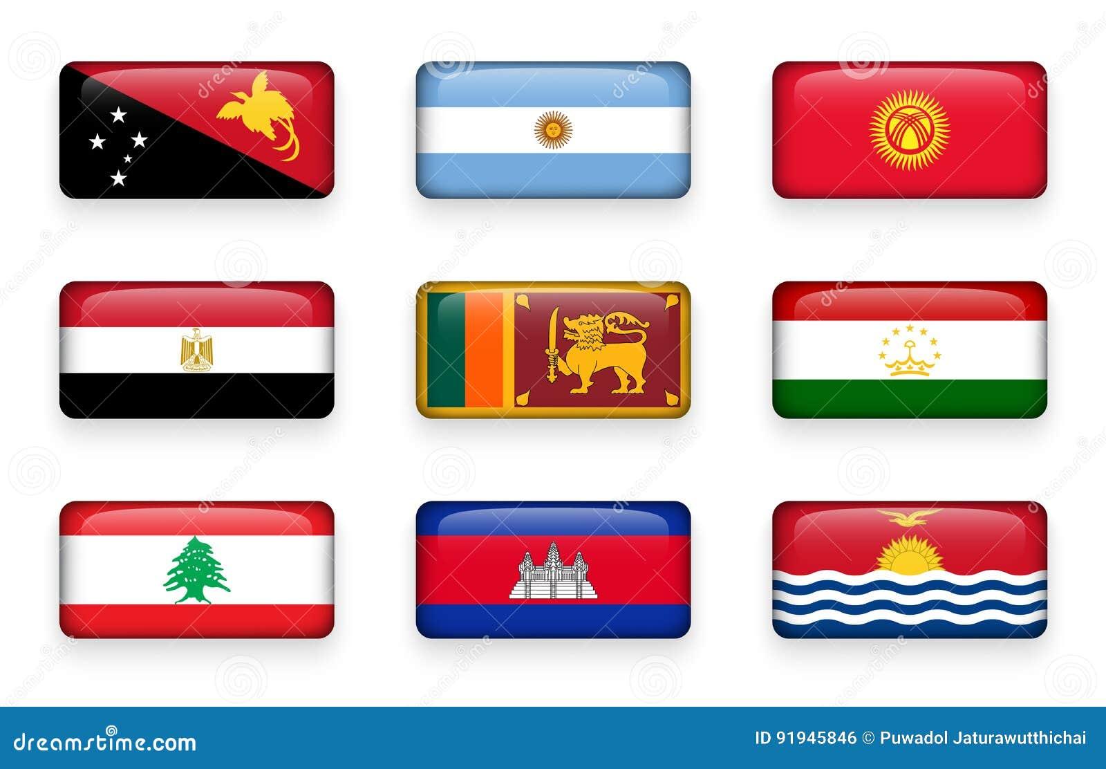 Uppsättningen av världen sjunker rektangelknappar Papua Nya Guinea arenaceous kyrgyzstan egypt Sri Lanka tajikistan lebanon Cambo