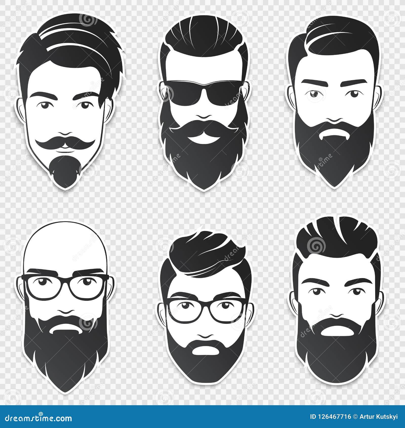 Uppsättningen av vektorn uppsökte hipstermanframsidor med olika frisyrer, mustascher, skägg Moderiktig manavatar, emblem, manlig