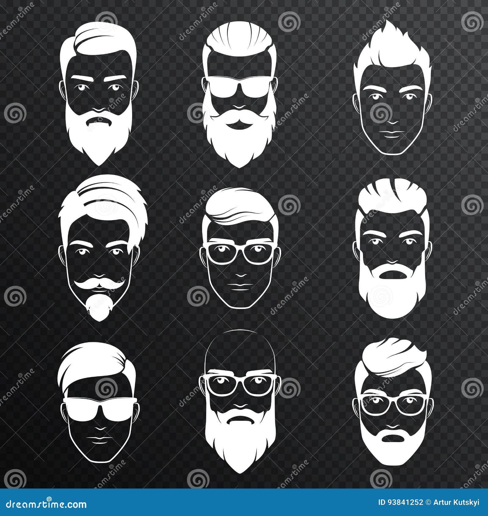 Uppsättningen av vektorn uppsökte hipstermanframsidor på den transperant alfabetiskbakgrunden Vita färgfrisyrer, skägg, mustasche