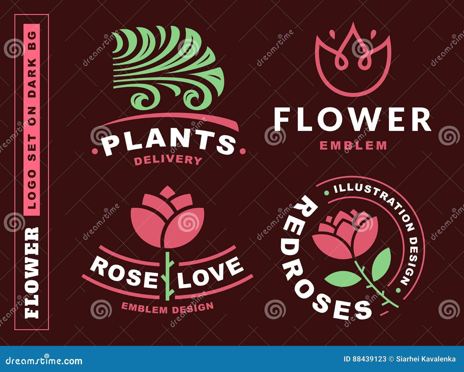 Uppsättningen blommar logoen - vektorillustrationen, emblem på mörker - röd bakgrund