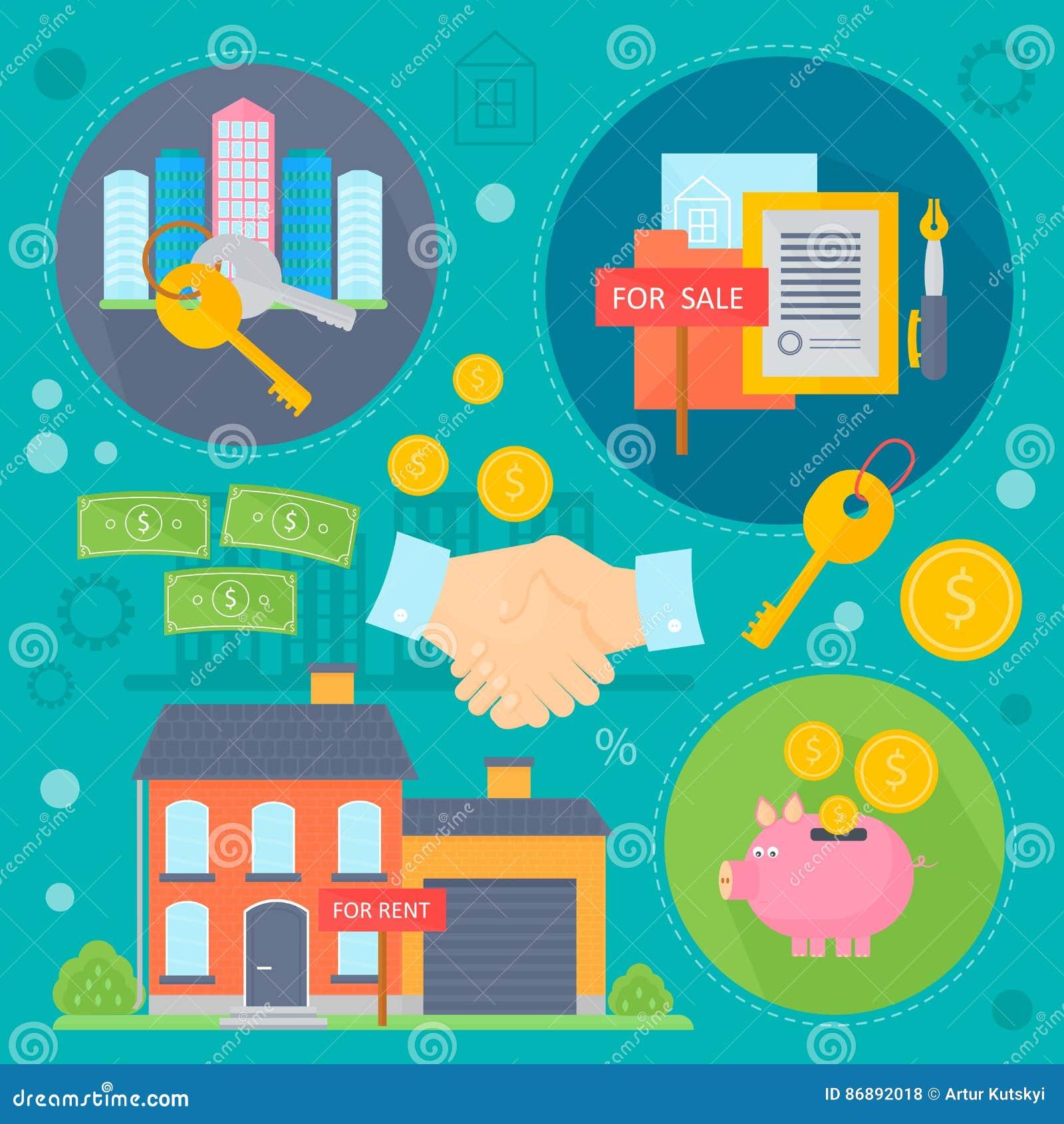 Uppsättningen för begreppet för vektorfastighetdesignen med försäljning och uthyrnings- förbättringar för marknadslägenhetsökande