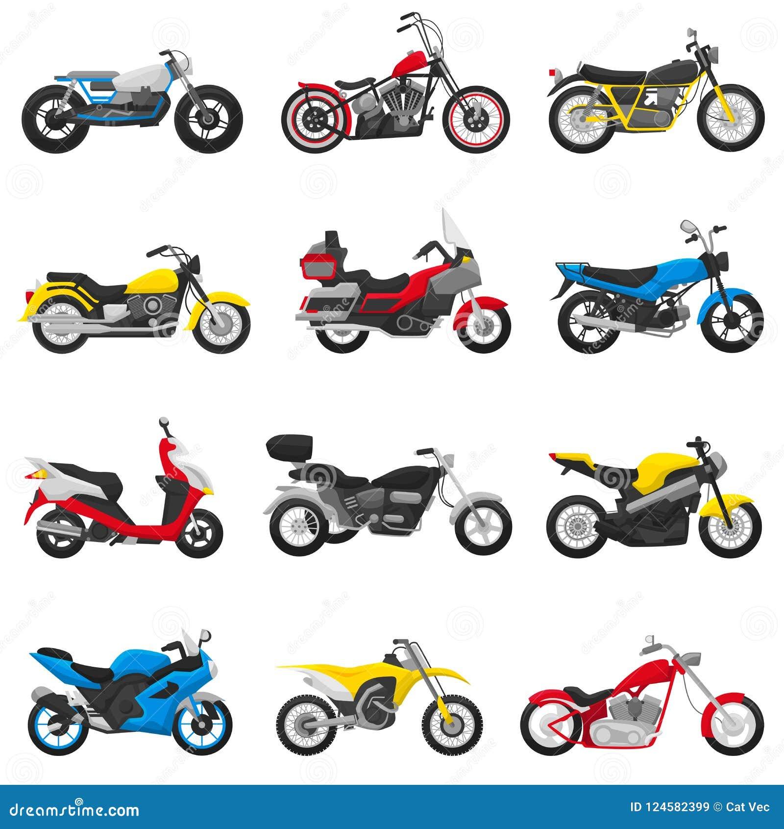 Uppsättningen för motorcycling för illustrationen för motorcykelvektormopeden och för avbrytaren för transport för bilismcirkuler