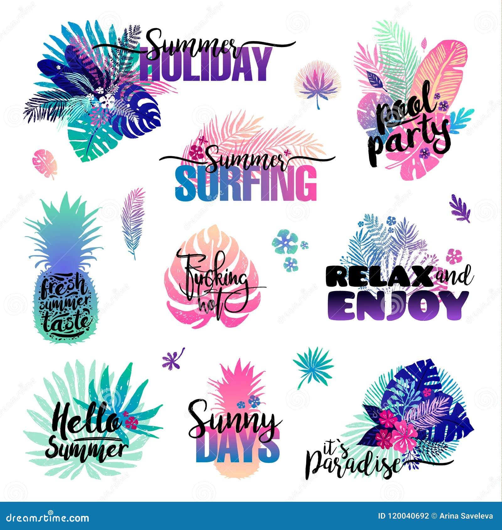 Uppsättningen med palmträdetiketter, sommarlogoer, etiketter och beståndsdelar, för ferie, reser, sätter på land semester också v