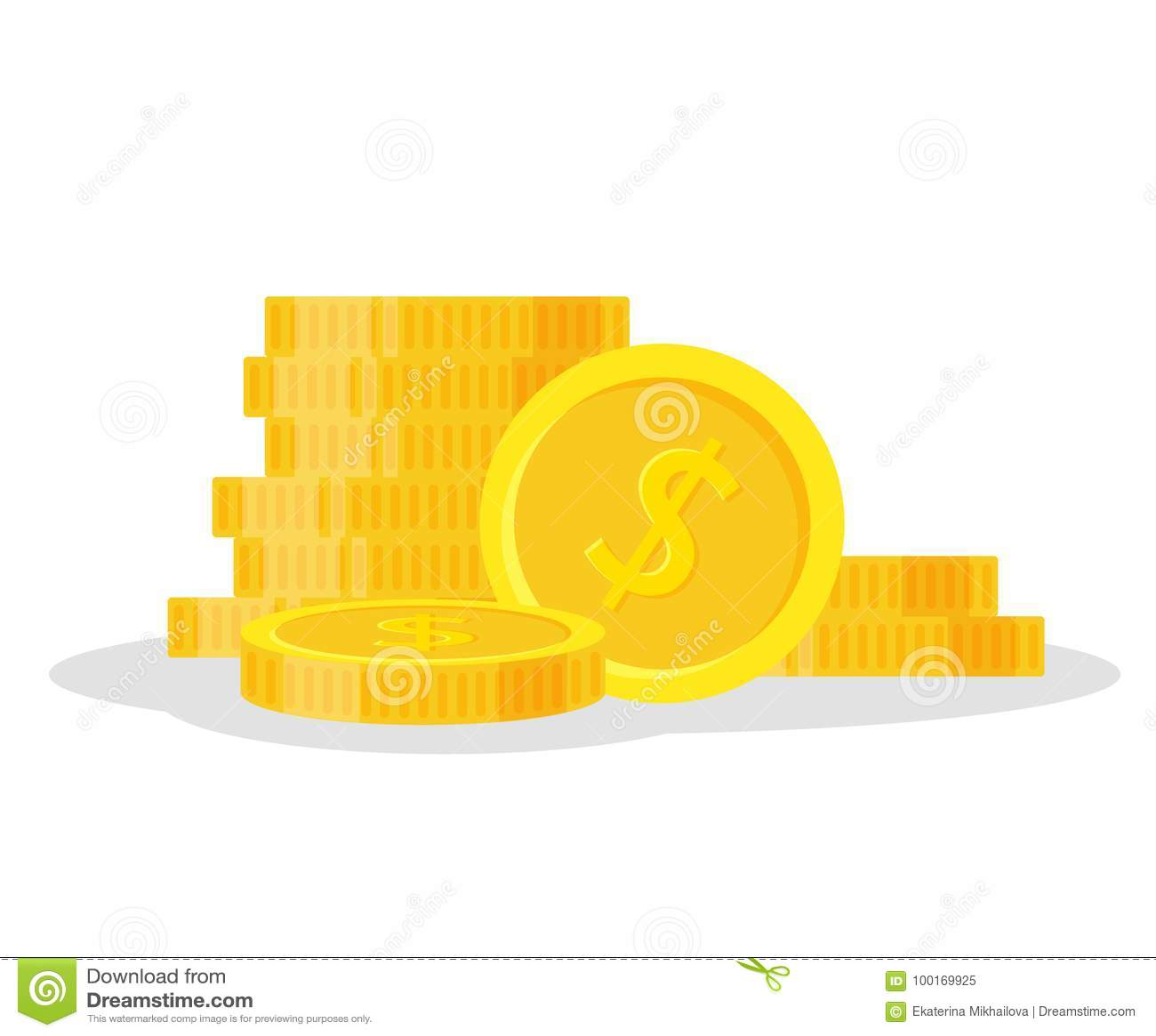 Uppsättningmynt staplar vektorillustrationen, högen för symbolslägenhetfinans, dollarmynthög Guld- pengaranseende på staplat, gul