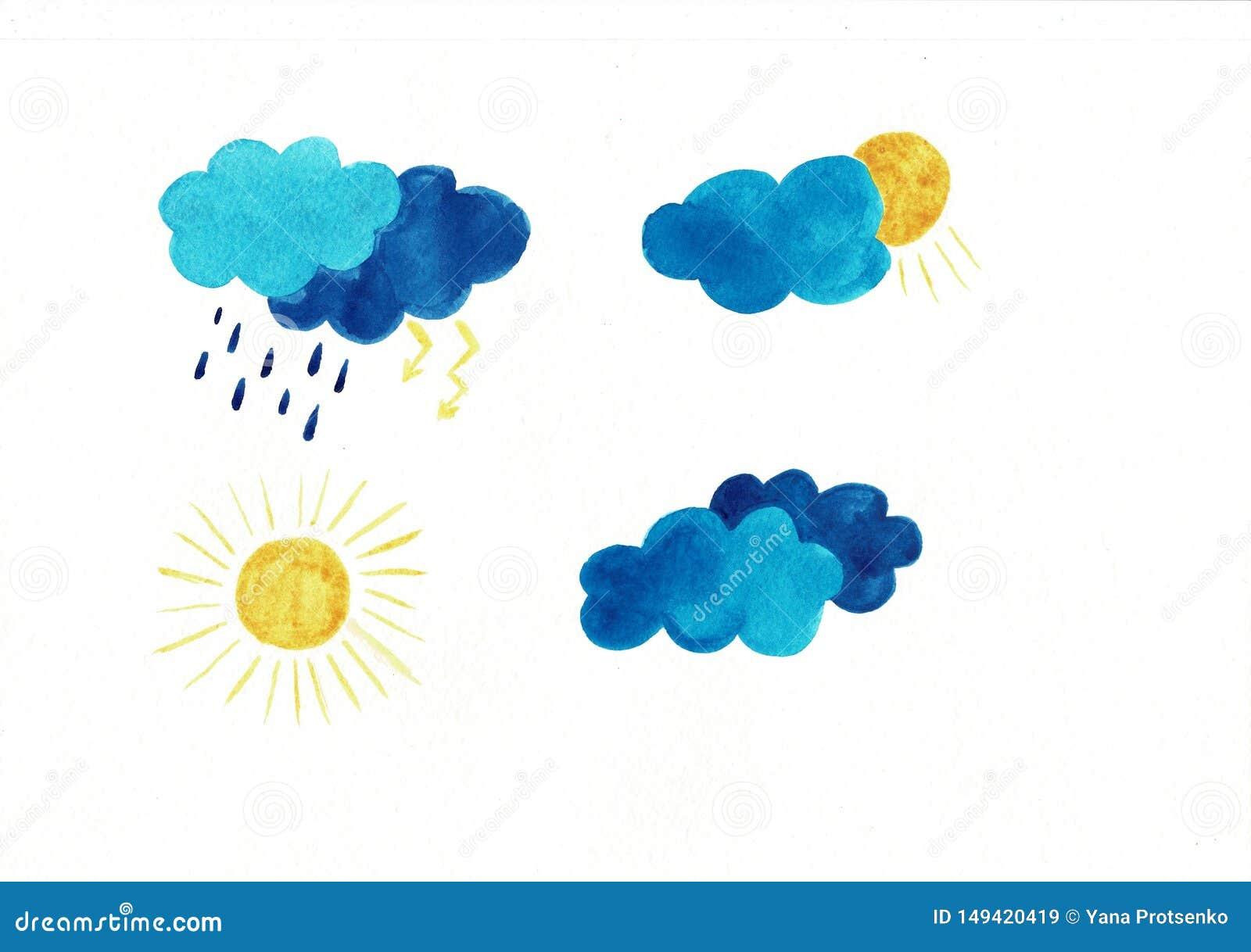 Upps?ttning av vattenf?rgv?dersymboler Solmoln regnar droppar som sn?flingor stormar G?ra perfekt f?r klisterm?rken eller reng?ri