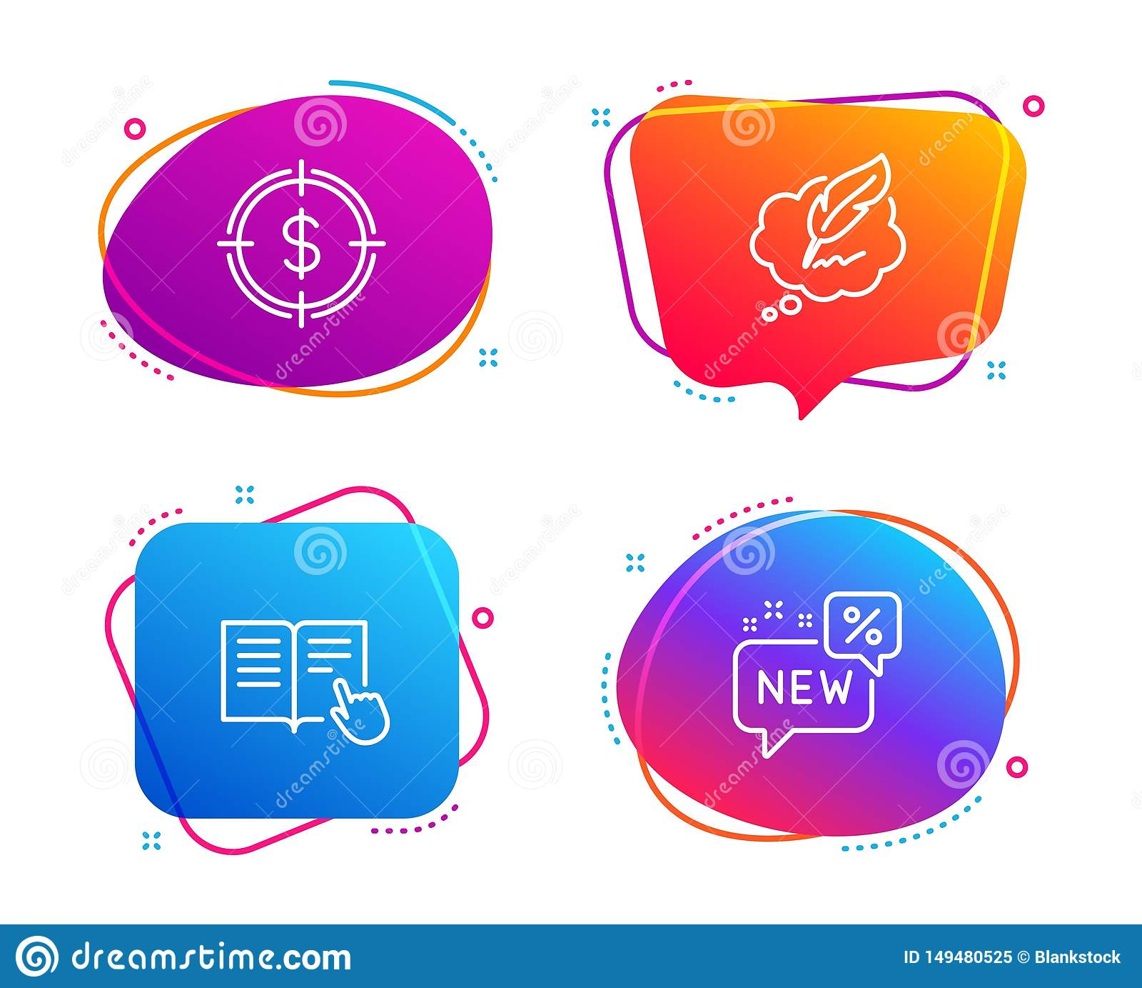 Upps?ttning f?r symboler f?r l?st anvisning, dollarm?l och Copyright pratstund nytt tecken vektor