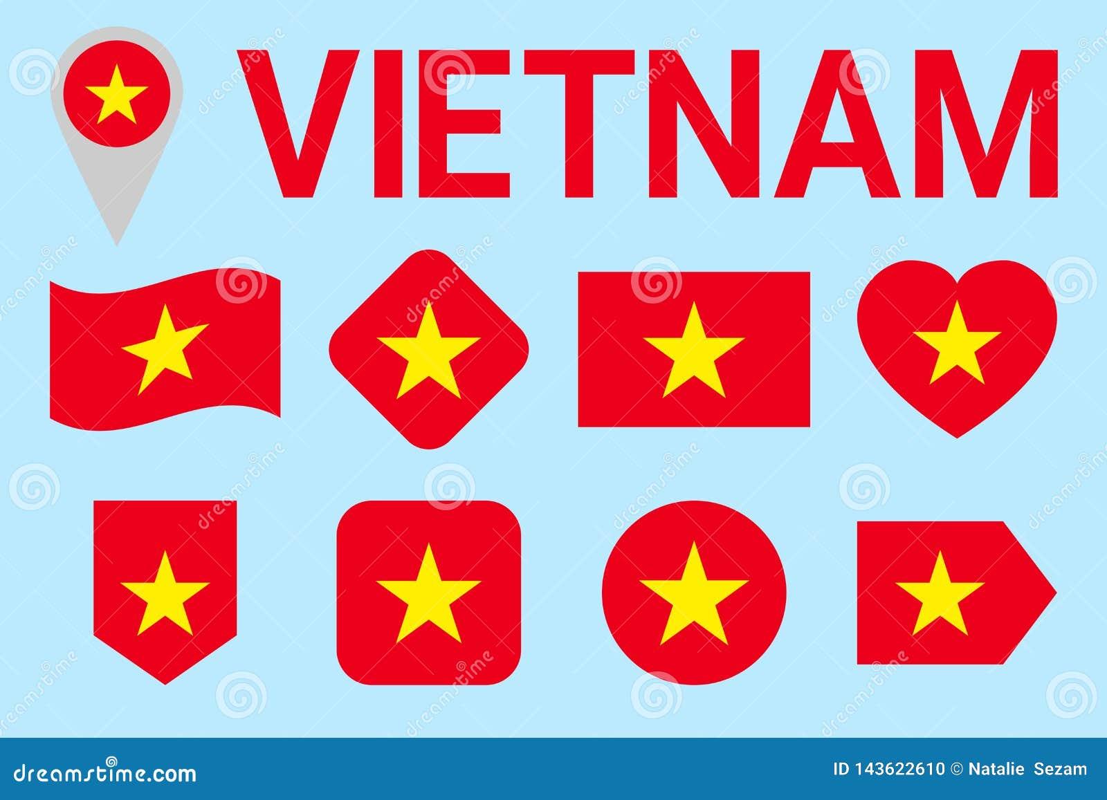 Upps?ttning f?r Vietnam flaggavektor Vietnamesisk natioanlsymbolsamling geometriska former Plan stil sportar som ?r nationella, l