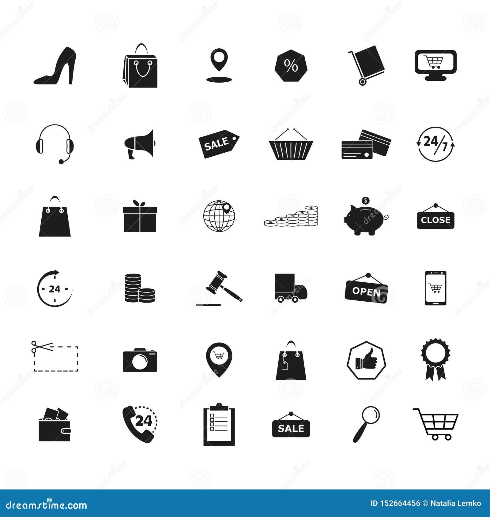Upps?ttningen av detaljhandel shoppar marknadshandelsymboler