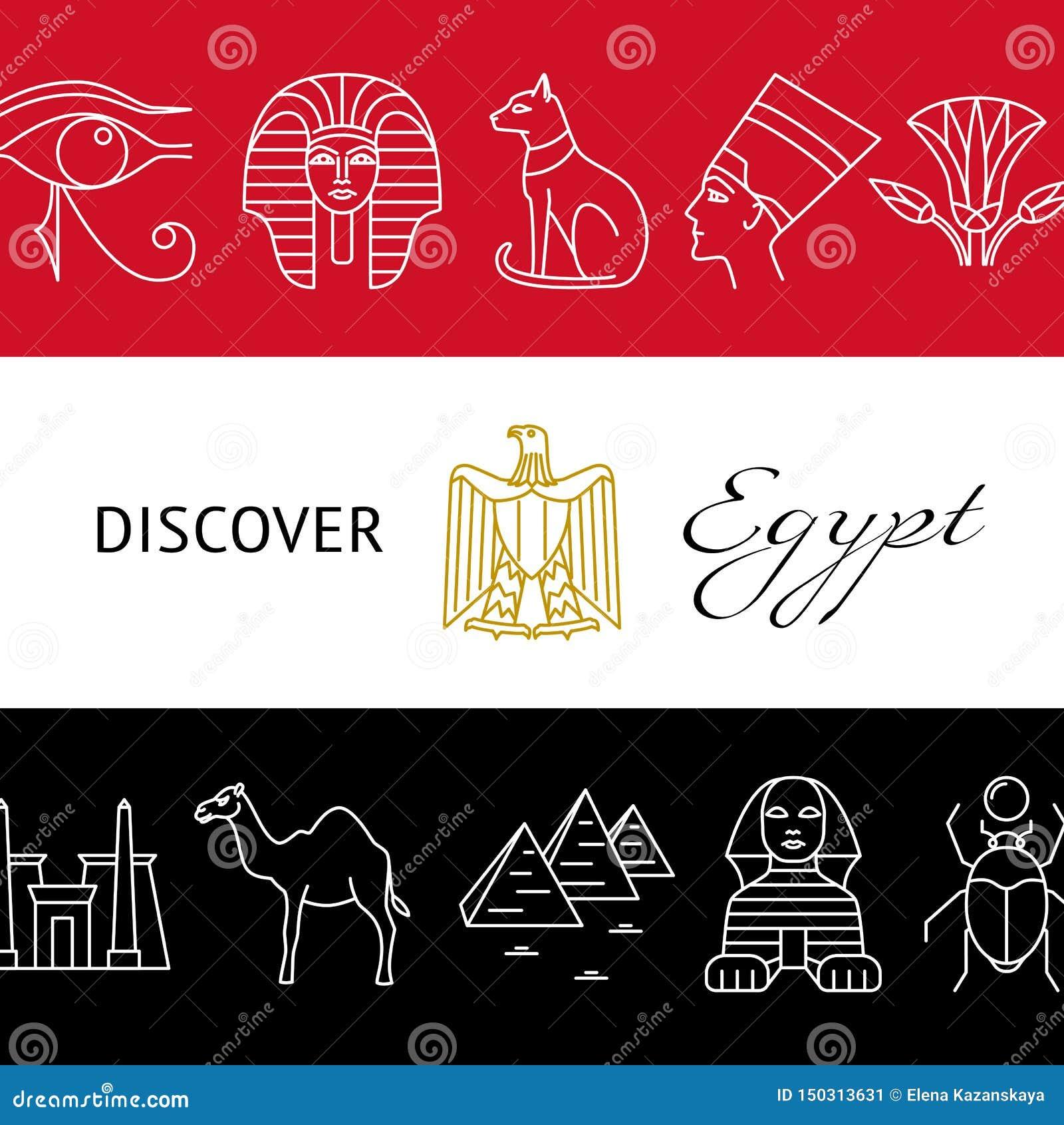 Upptäck det Egypten begreppsbanret med populära symboler och nationsflaggafärger
