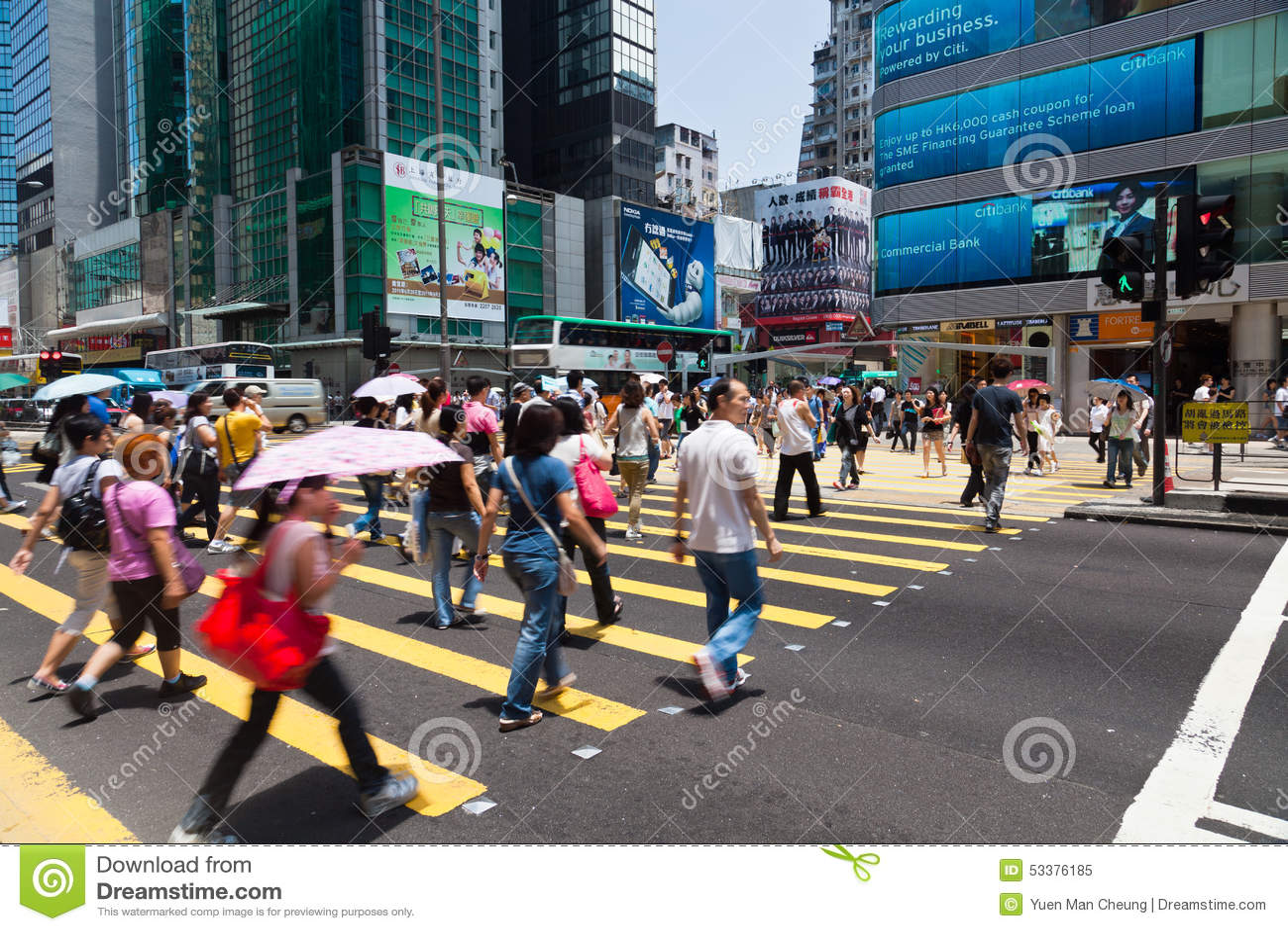 Upptagen övergångsställe i Hong Kong
