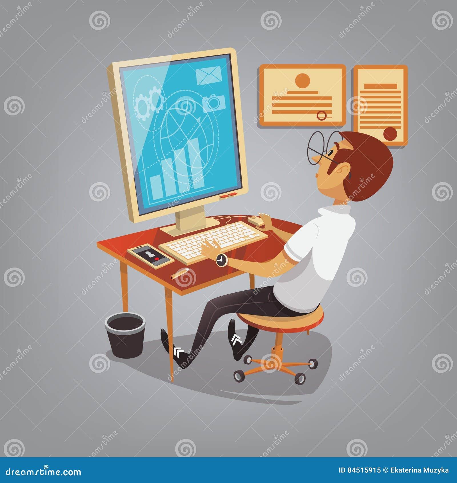 Upptaget arbete för man med datoren i regeringsställning Affärsidévektorillustration i tecknad filmstil Chefen gör försäljningar