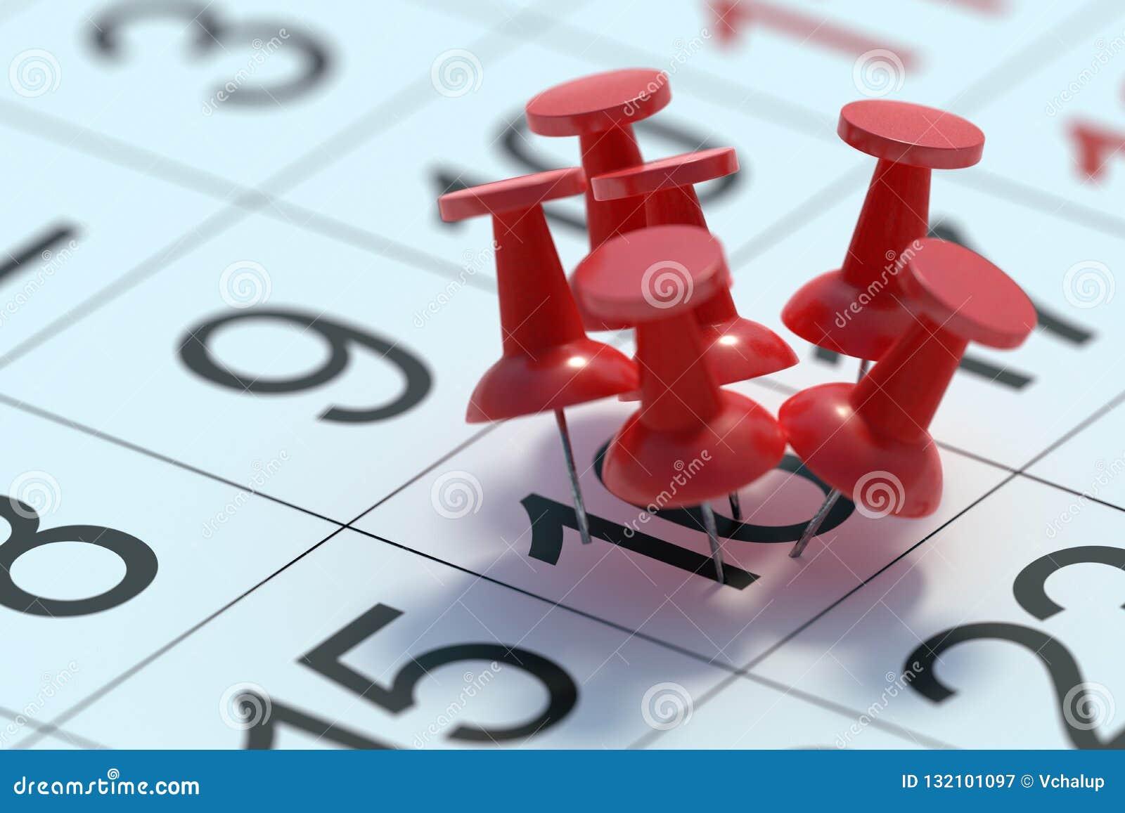 Upptaget dagbegrepp Många häftstift klämde fast till en dag i kalender framförd illustration 3d