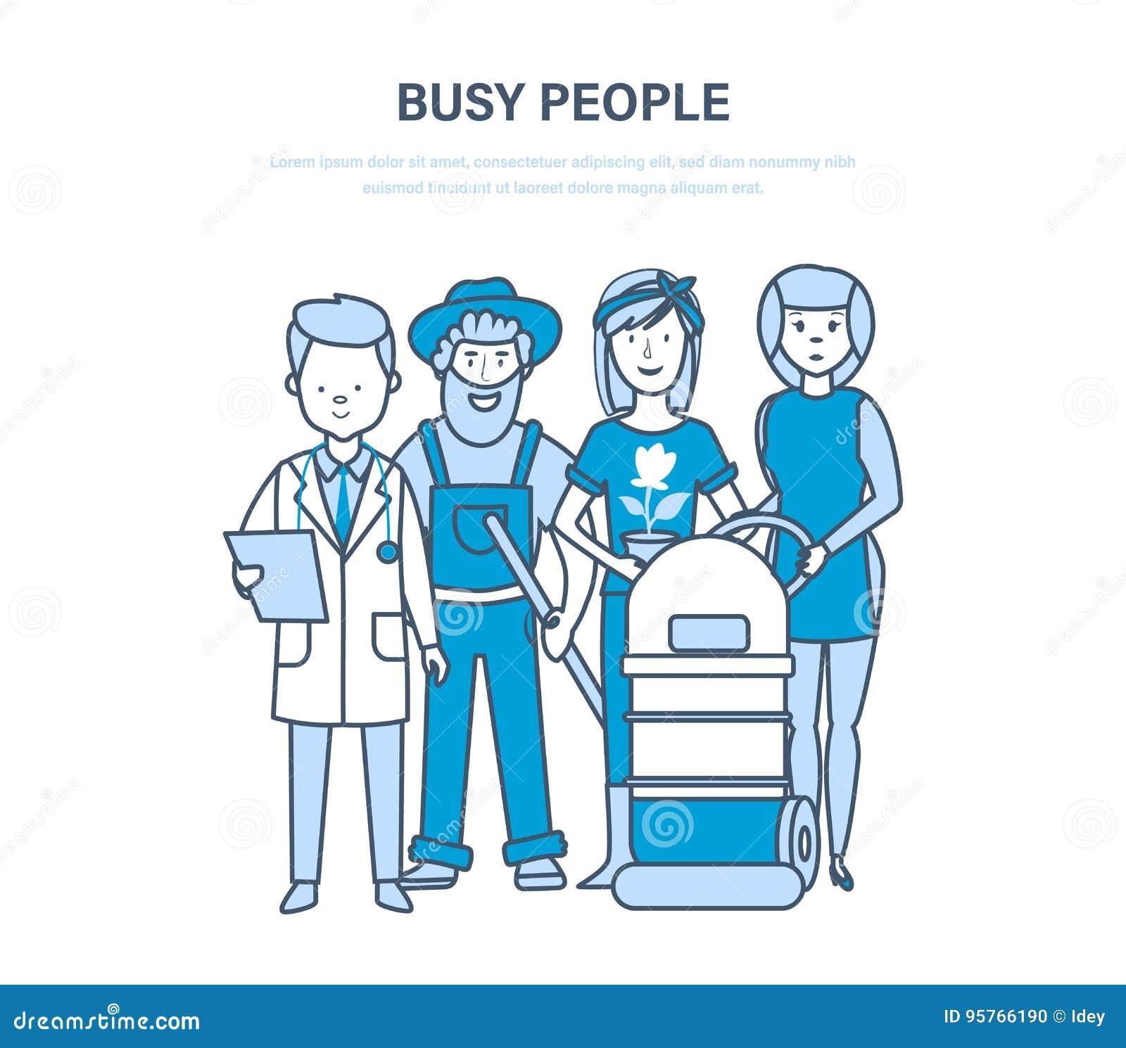 Upptaget folk, anställda, kontorist, olika specialiteter, doktor, bönder, hotellarbetare