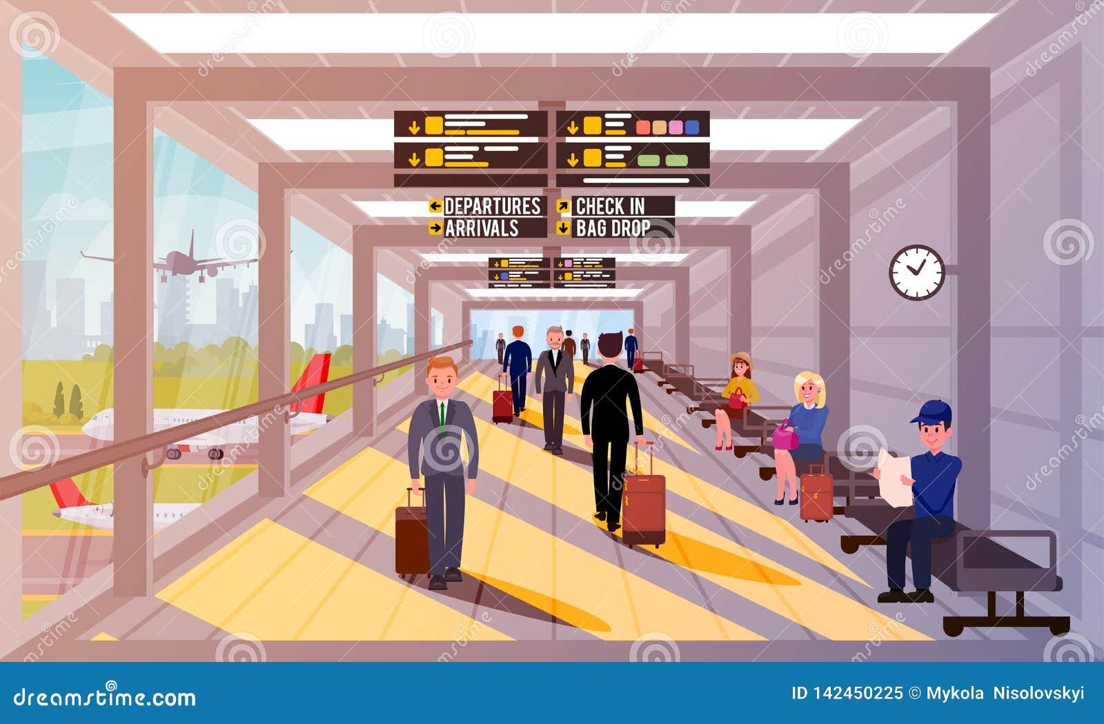 Upptaget folk i plan illustration för flygplatslobby