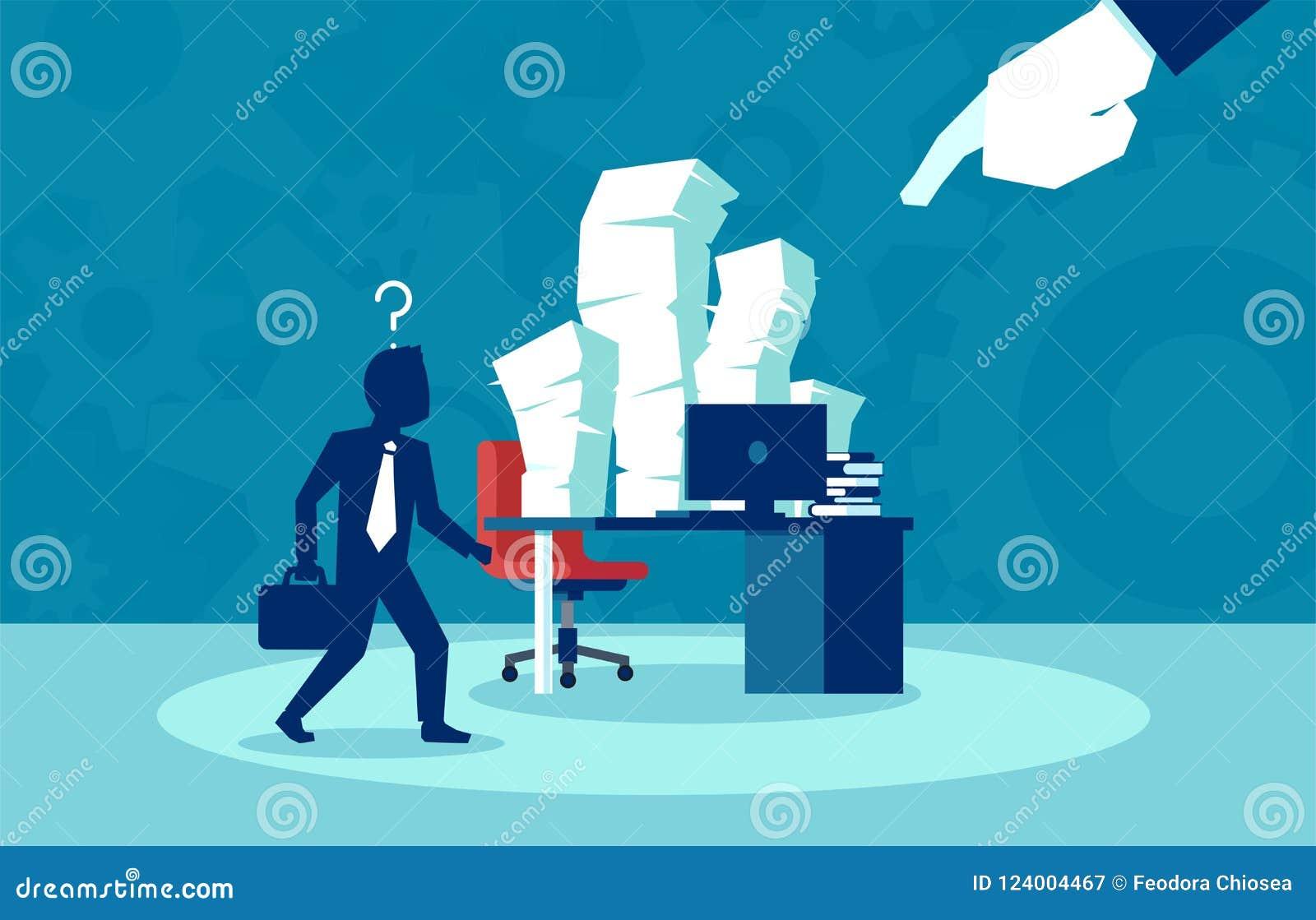 Upptaget jobb av företags anställd, byråkrati, skrivbordsarbetebegrepp