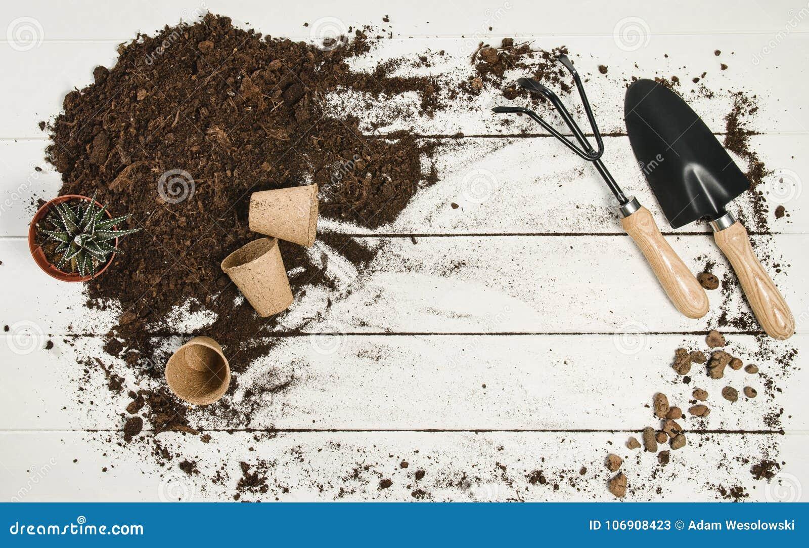 Uprawiać ogródek wytłacza wzory odgórnego widok na białym drewnianym deski tle
