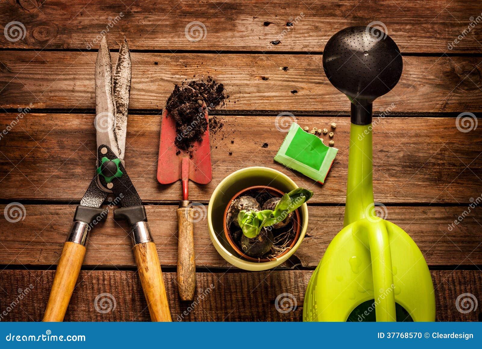 Uprawiający ogródek narzędzia na rocznika drewnianym stole - wiosna