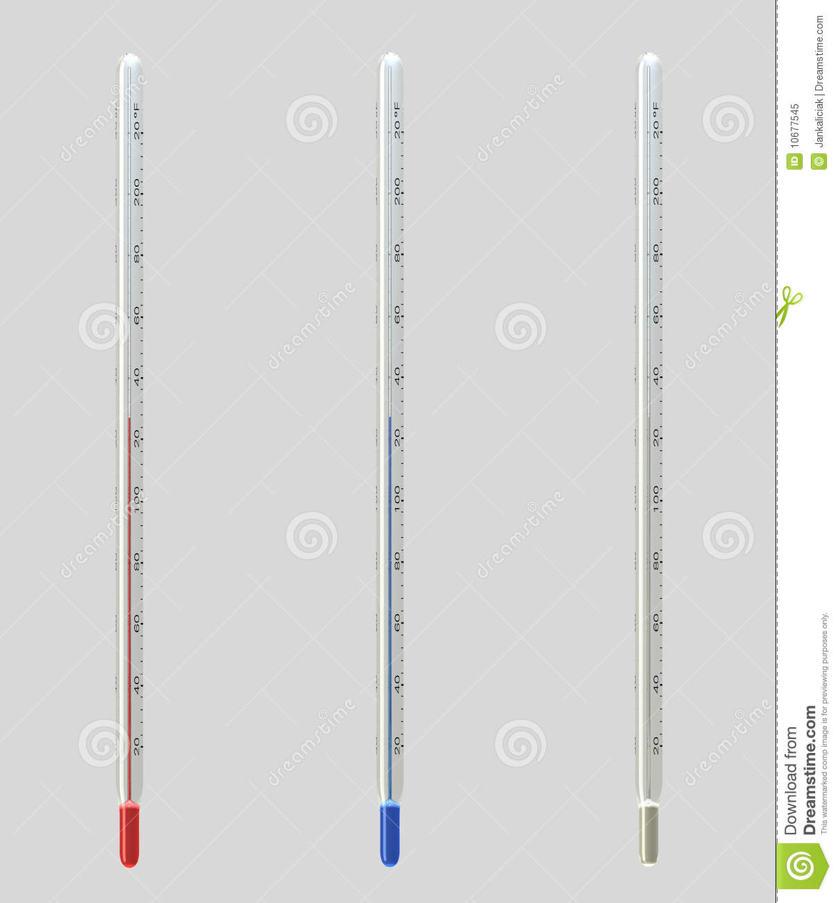 Upright Fahrenheit Thermometers Stock Illustration - Image ...