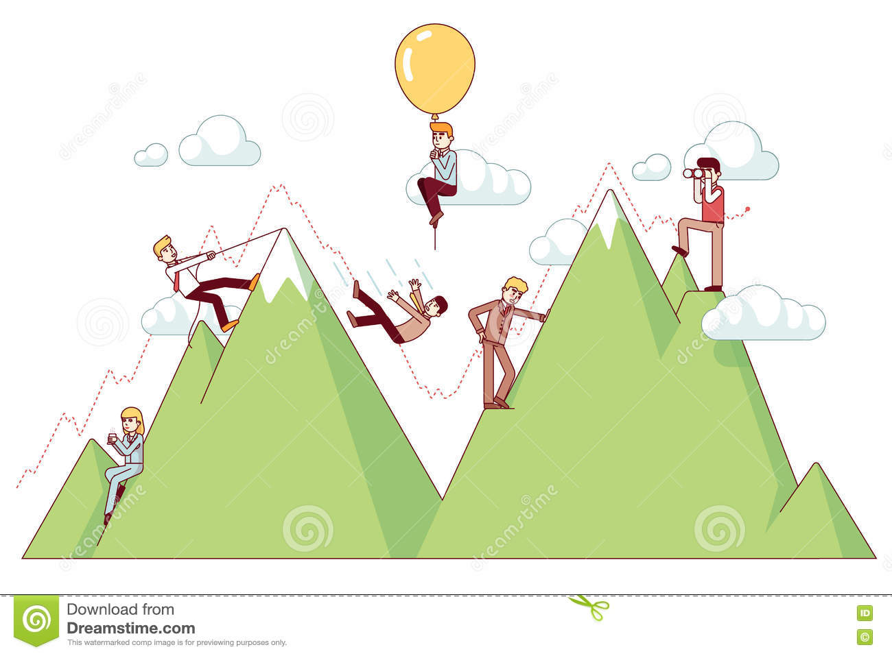 Ups And Downs On A Entrepreneur Path Stock Vector