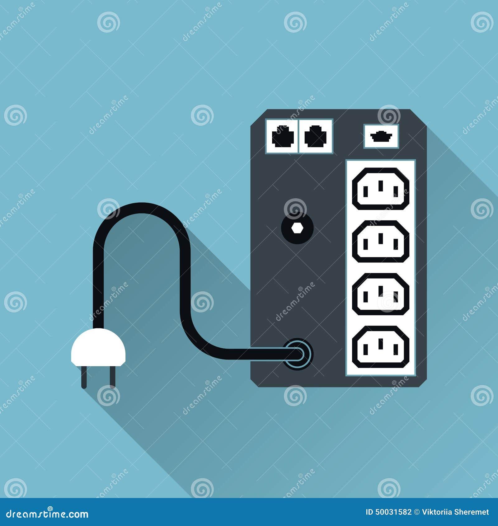 Ups Uninterruptible Power Supply Symbol Long Shadow Vector Illus