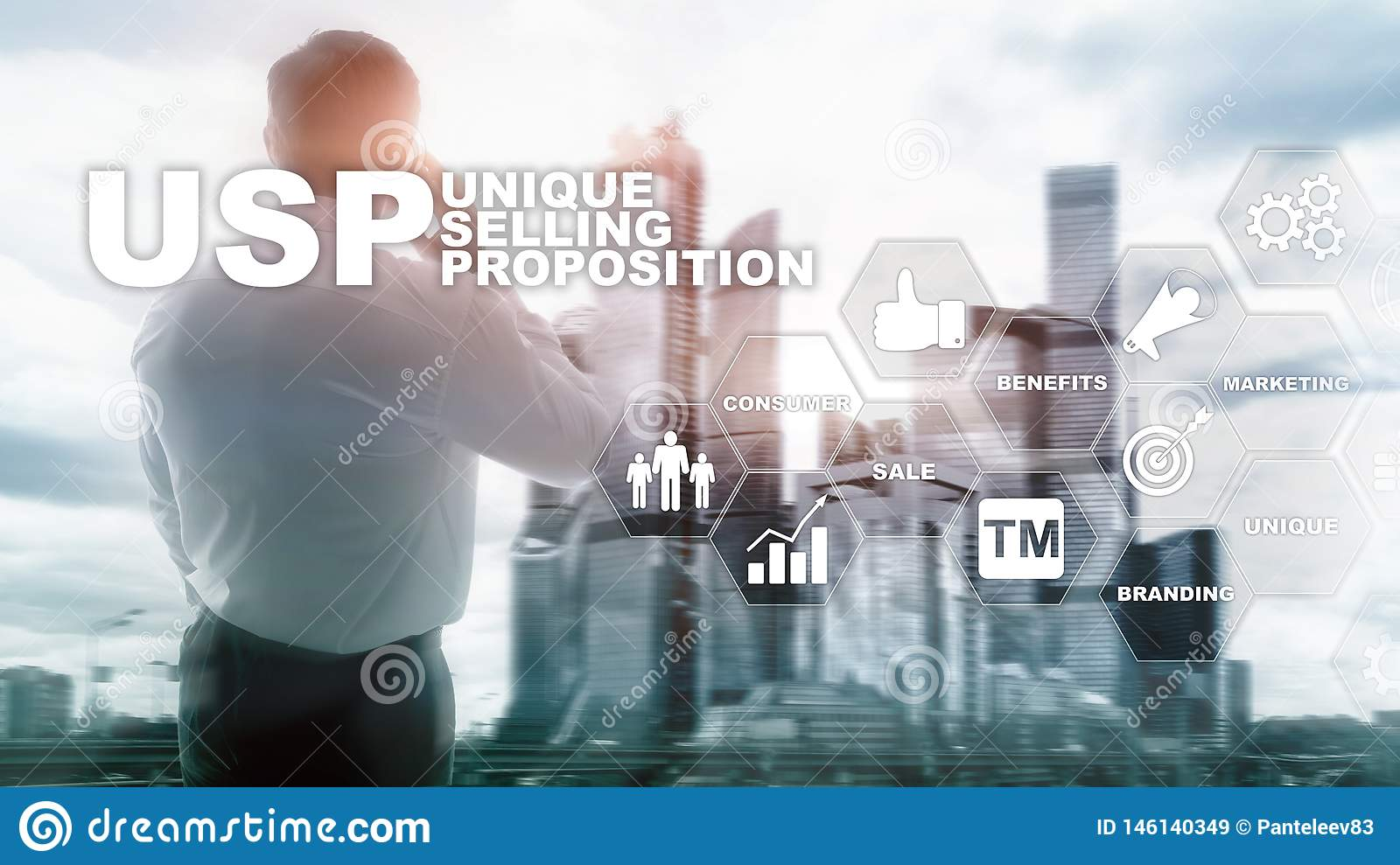 UPS - Unique selling propositions. Business and finance concept on a virtual structured screen. Mixed media.