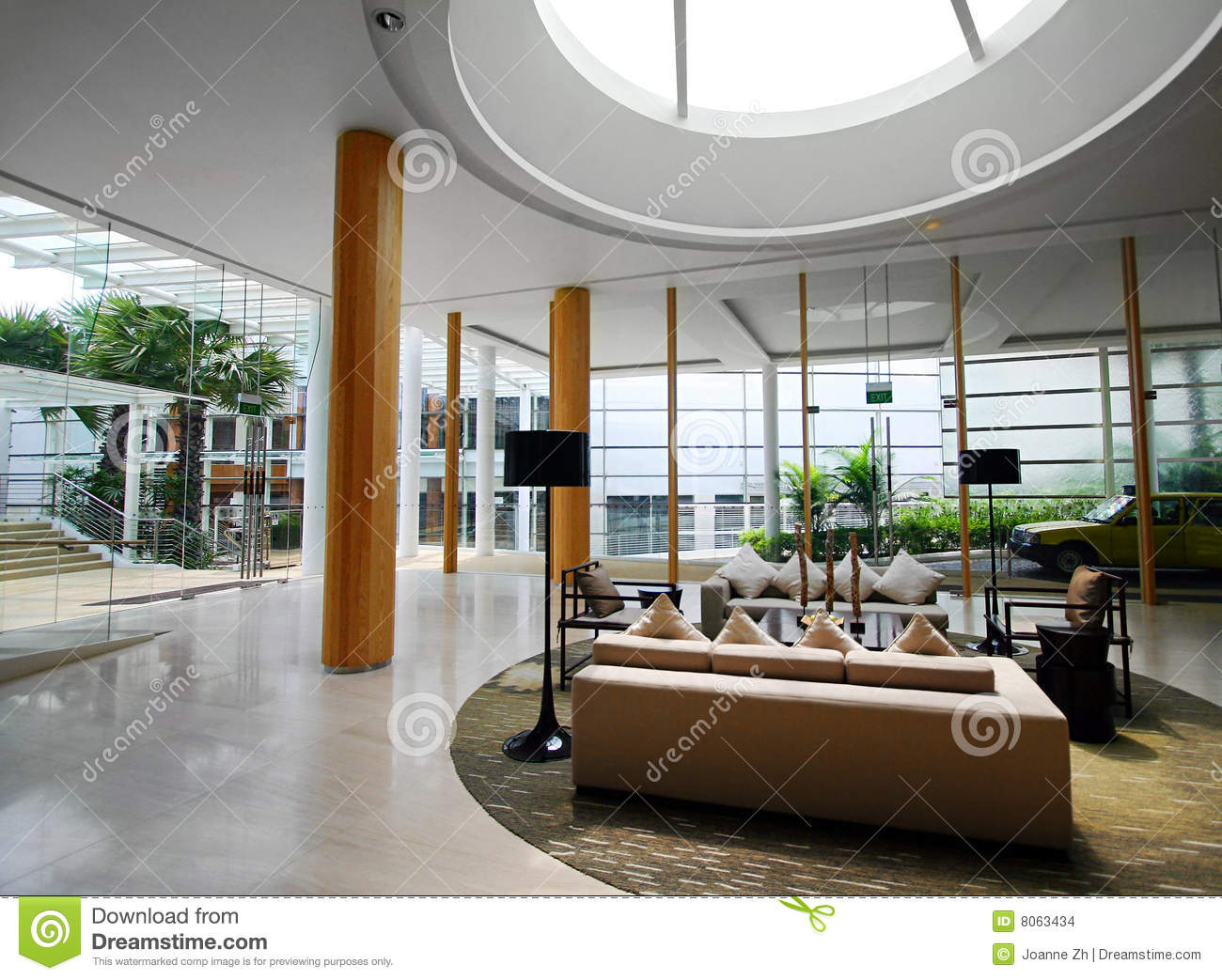 Upscale Hotel Interiors With Skylight Stock Images Image