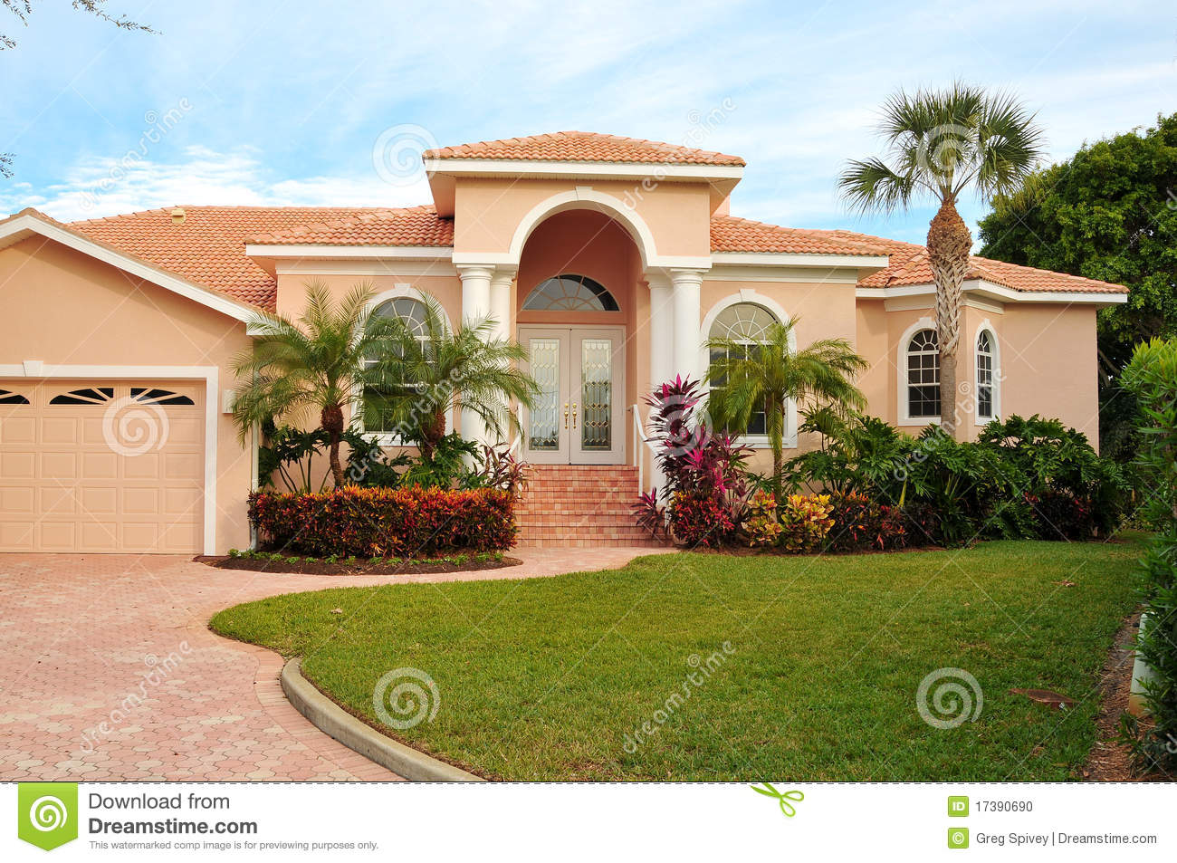 Upscale House With Luxurious Tropical Landscaping Stock Photo Image 17390690