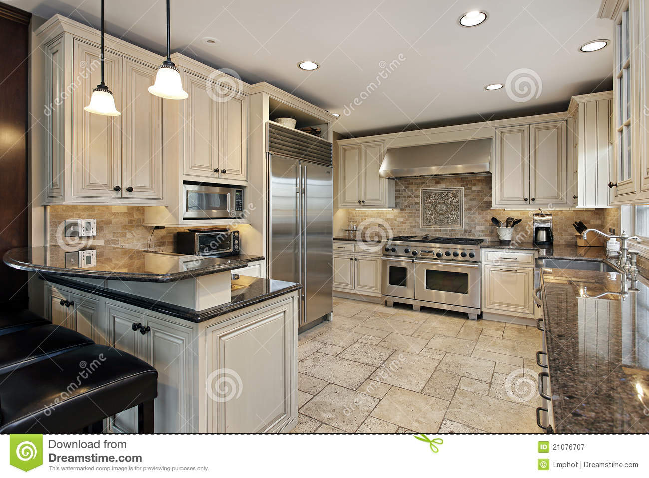 Upscale Kitchen With Breakfast Bar Royalty Free Stock