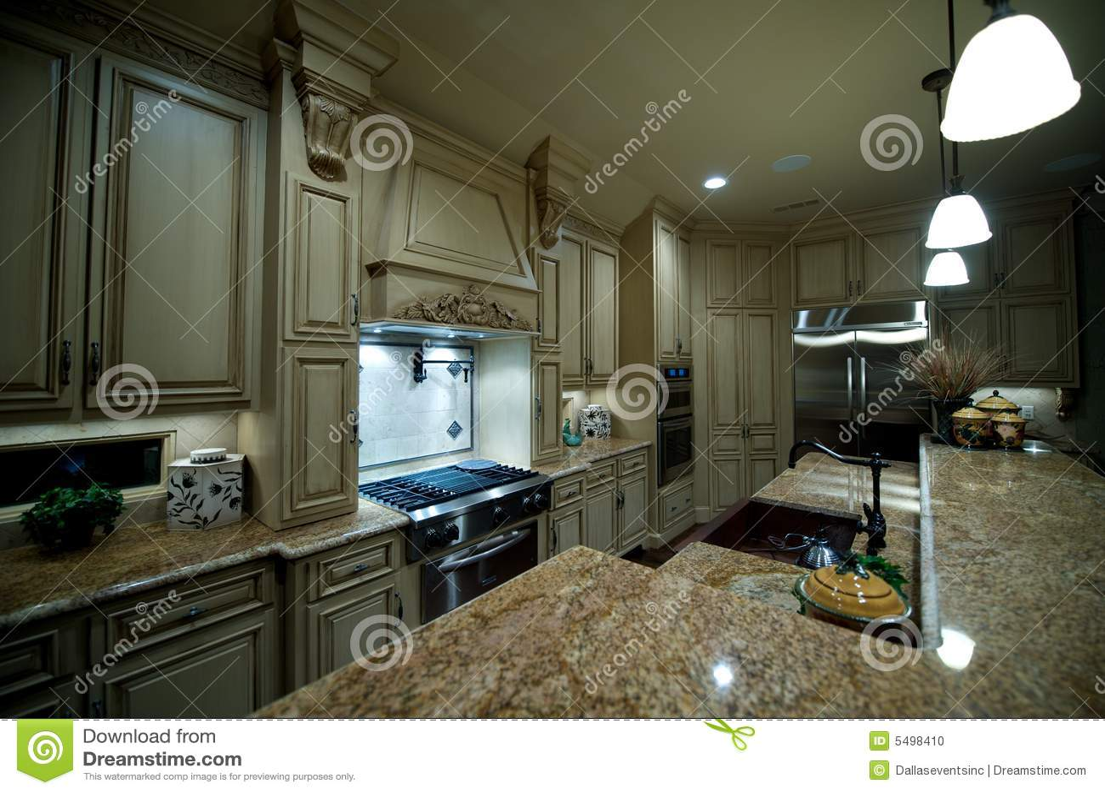Upscale Kitchen With Granite Countertops Stock Photo