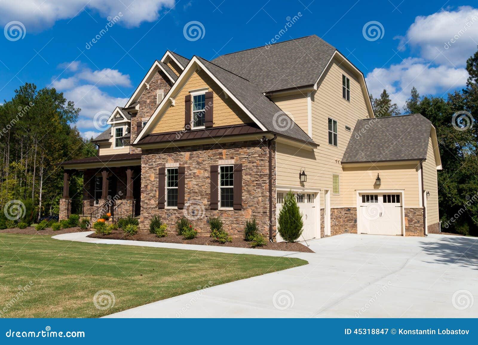 Upscale suburban house stock image image of luxury for Suburban house plans