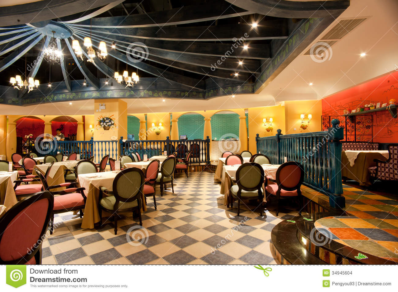Upscale western style restaurant is decorated stock photo