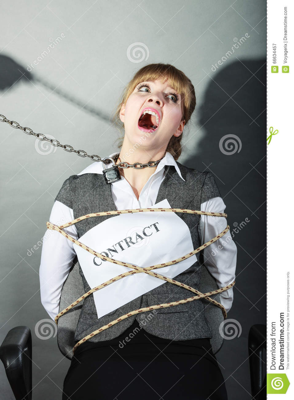 Upset Businesswoman Bound By Contract Terms. Stock Image ...
