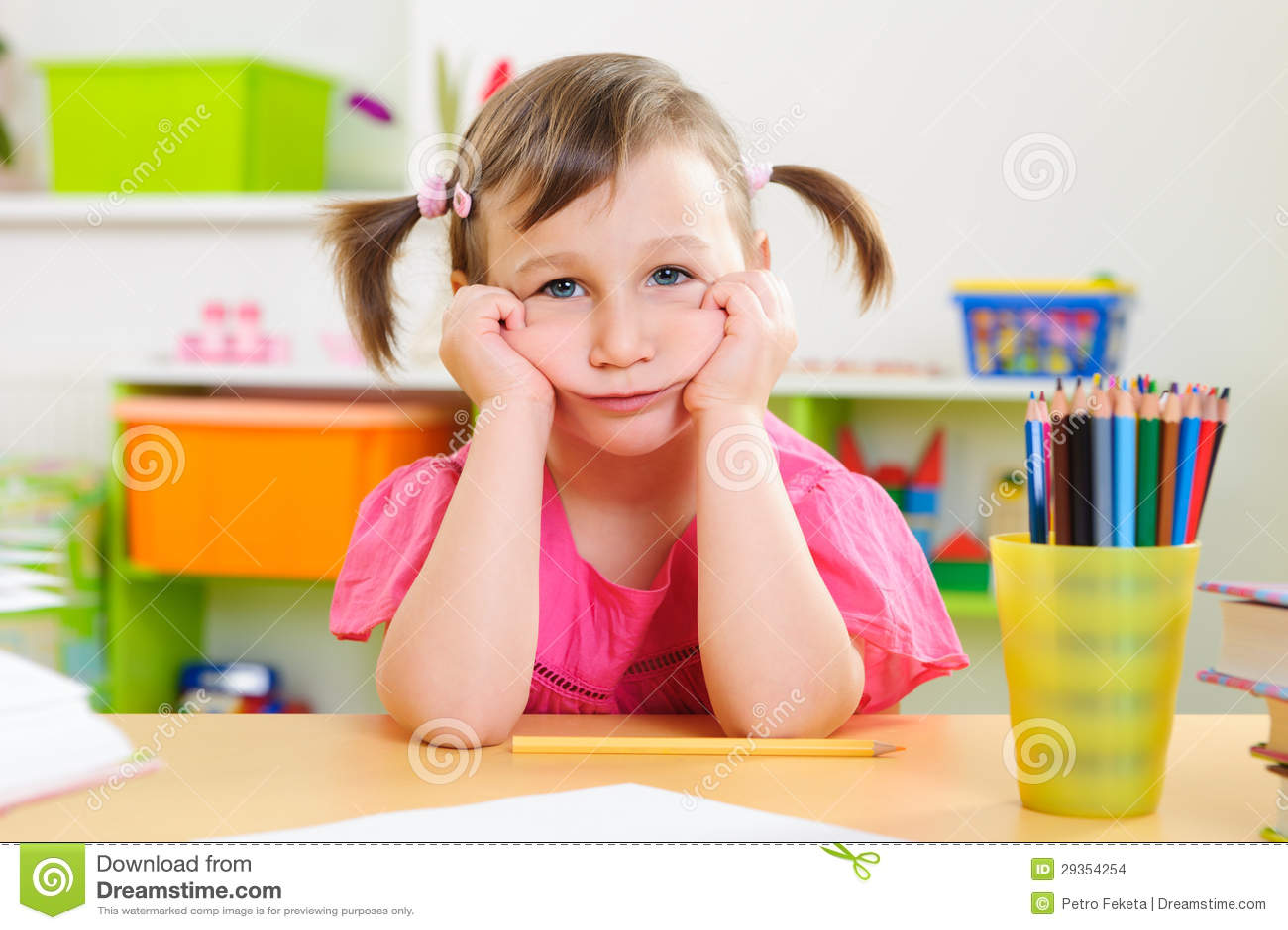 Upset little girl sitting at desk stock images image 29354254 - Desk girl image in ...