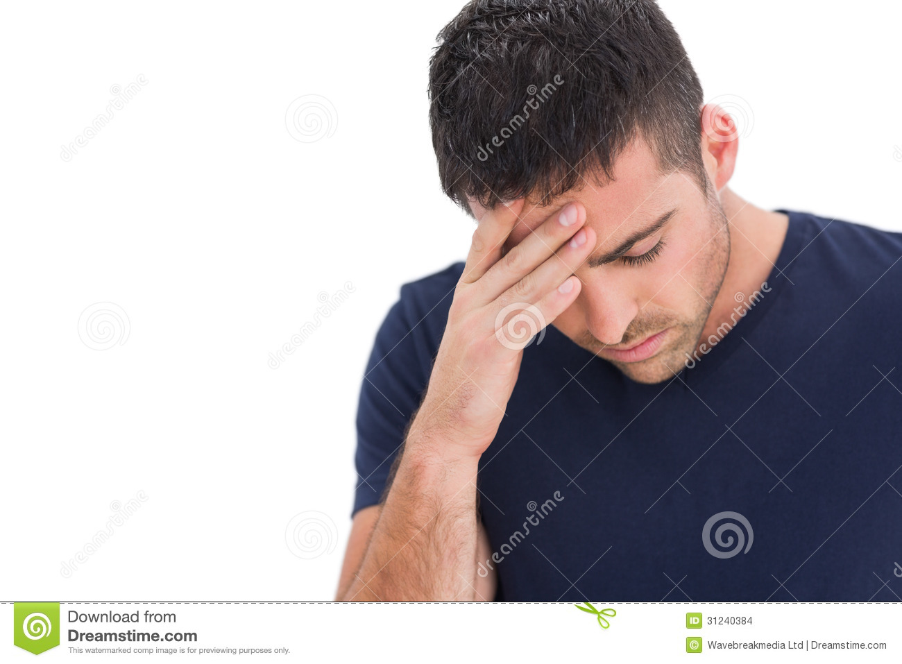 ... man standing with his hand holding his forehead on white background