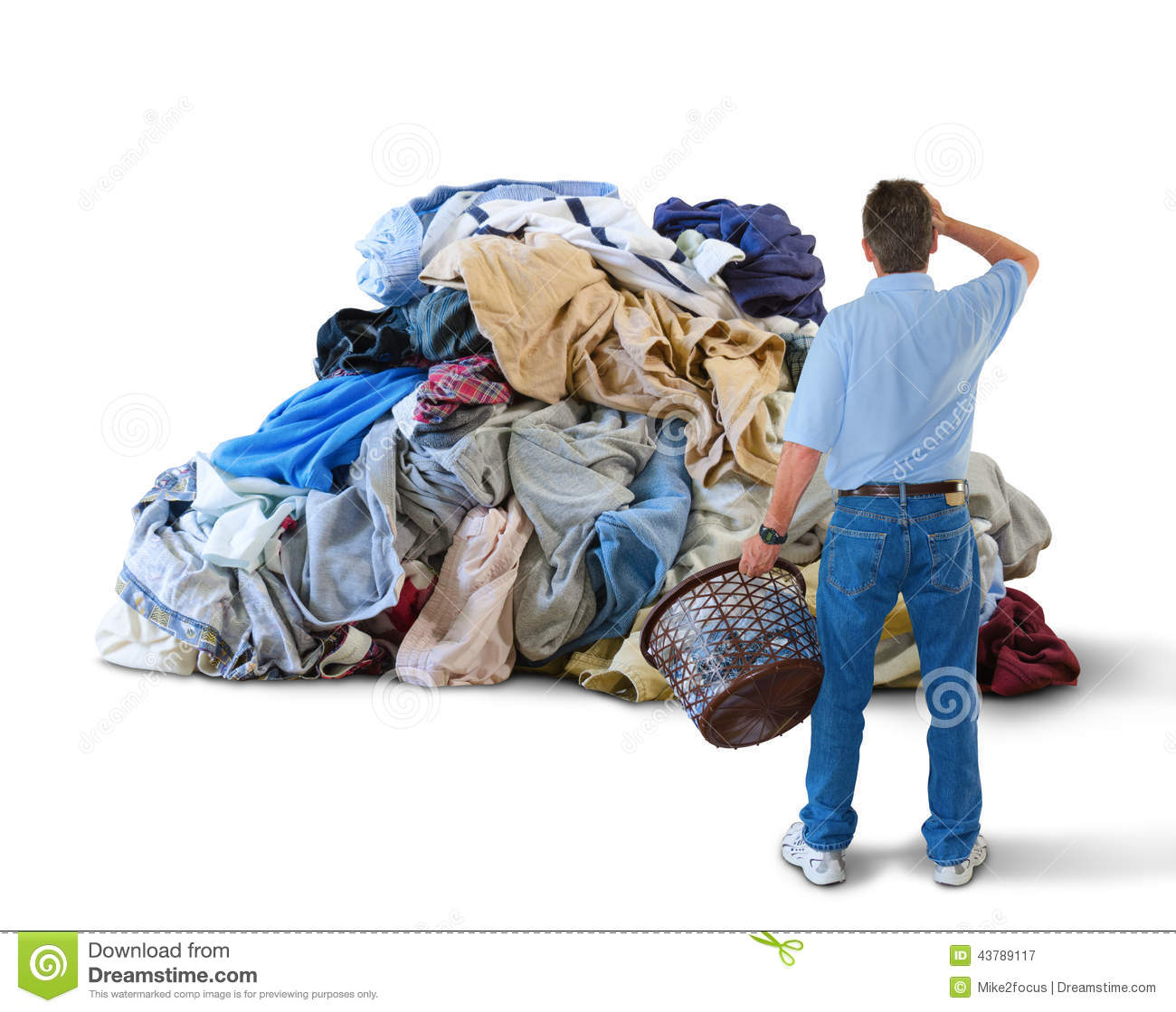 Upset Man W Laundry Basket Amp Huge Pile Of Clothes Stock